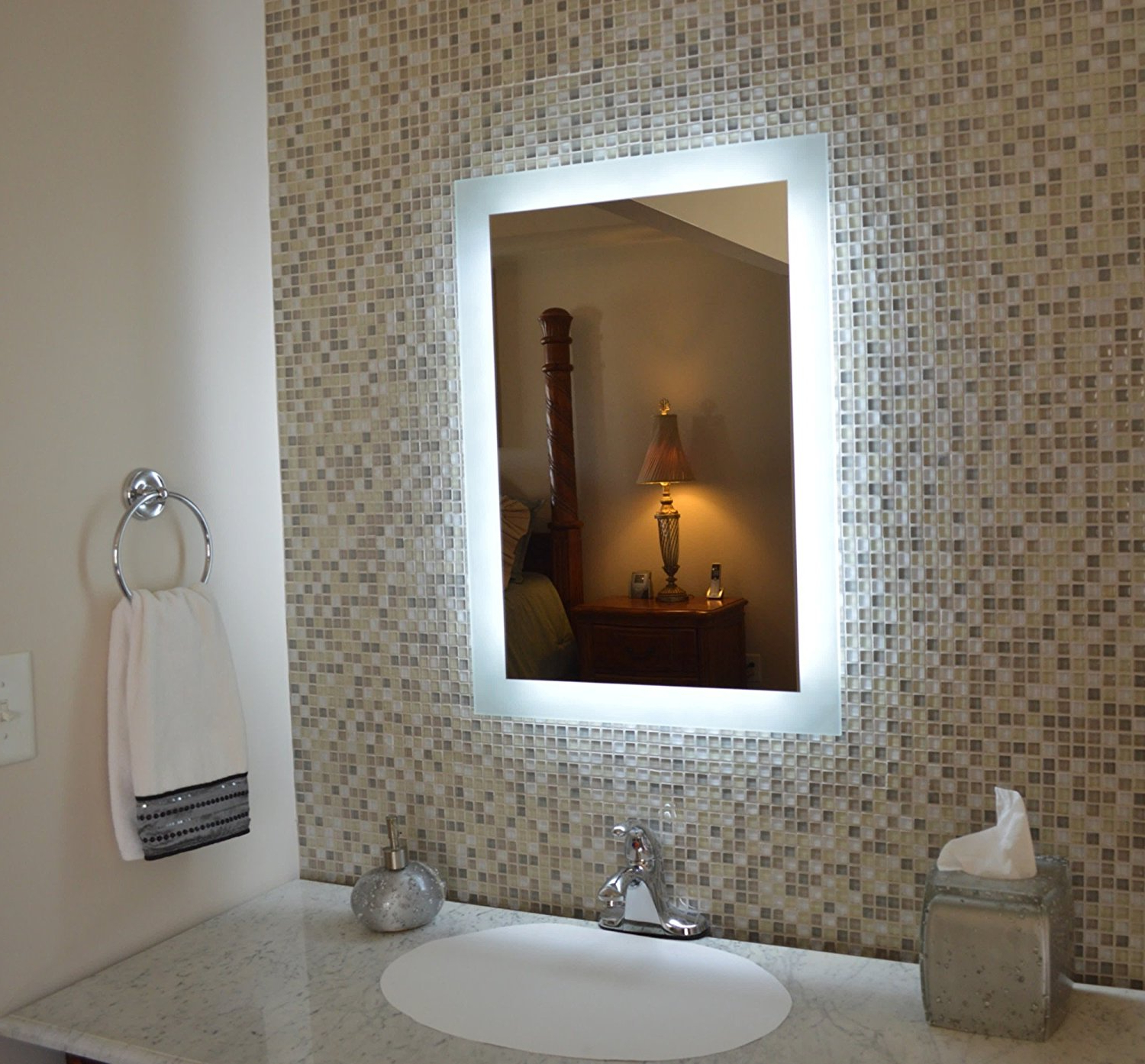 Most Recent Gewinnen Bathroom Vanity Wall Mirrors Mount Ideas Silver White Throughout Lighted Vanity Wall Mirrors (View 14 of 20)