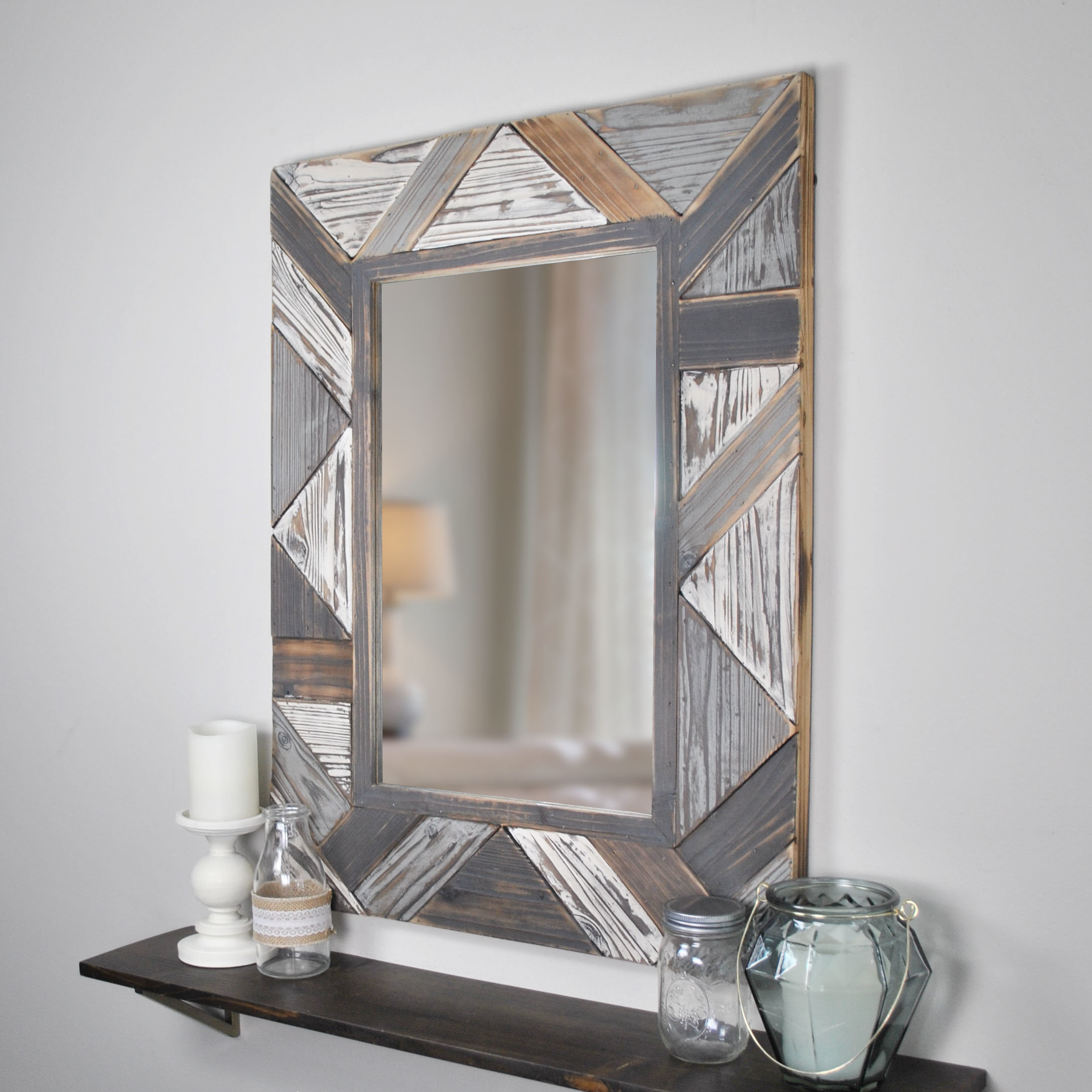 Most Recent Gia Hexagon Accent Mirrors Intended For Oakes Salvaged Planks Accent Mirror (View 18 of 20)