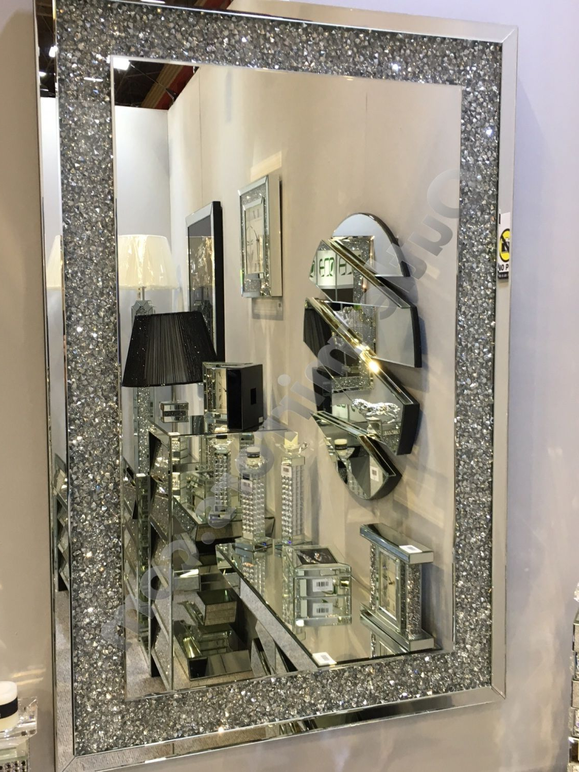 Most Recent Glitter Wall Mirrors Regarding Special Offer* New Diamond Crush Sparkle Wall Mirror 120Cm X (View 1 of 20)