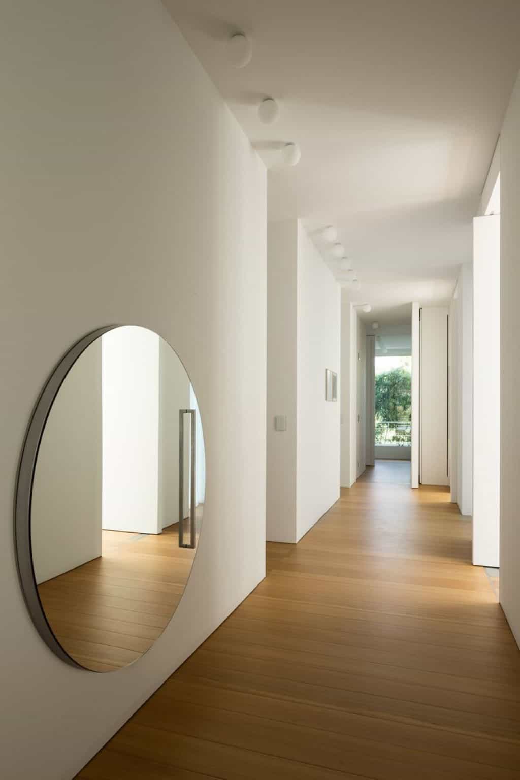 Most Recent Hallway Wall Mirrors With Minimalist Hallway Design With White Wall Colors And Round (View 7 of 20)