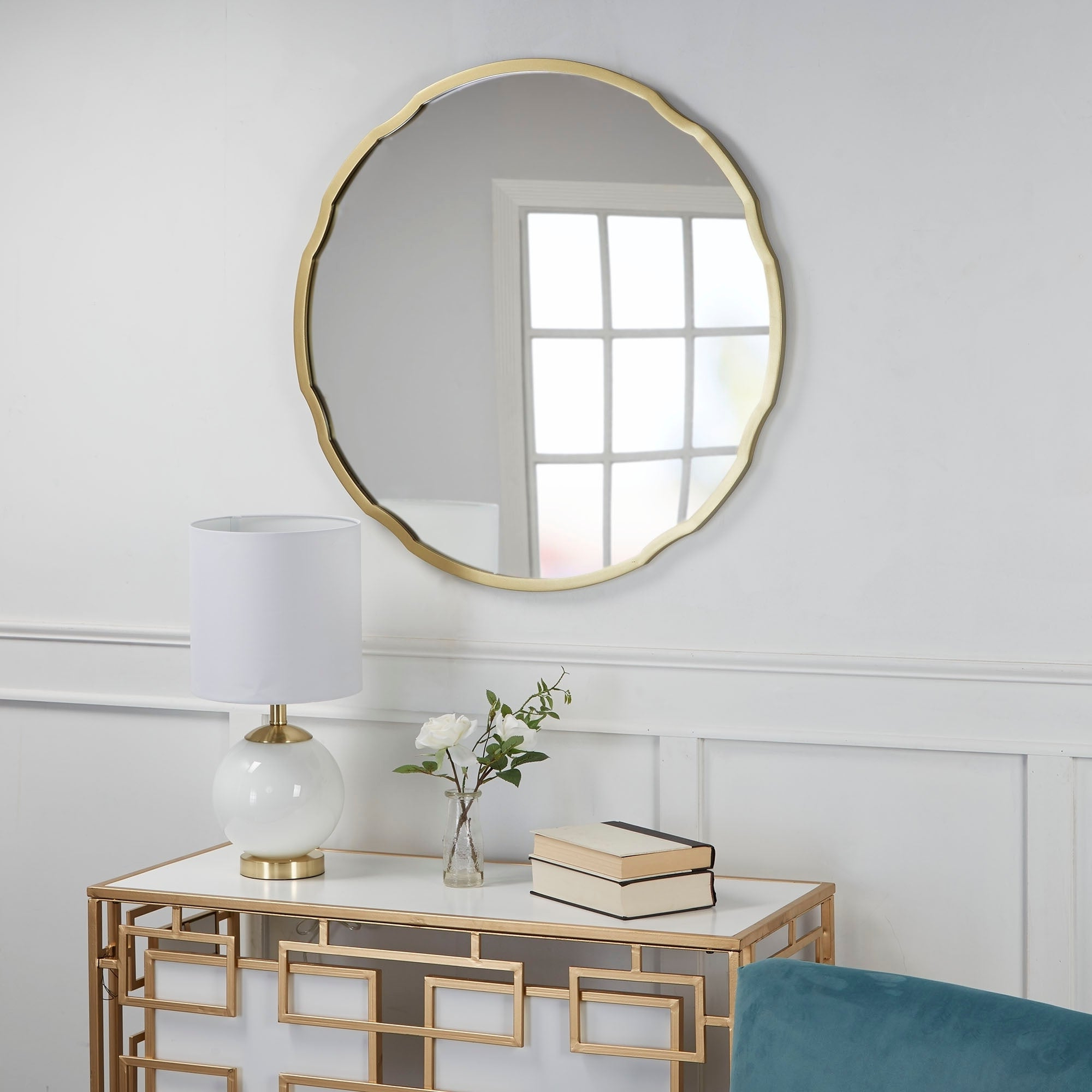 Most Recent Hazel Round Quatrefoil Frame Wall Mirror – Gold For Quatrefoil Wall Mirrors (View 8 of 20)