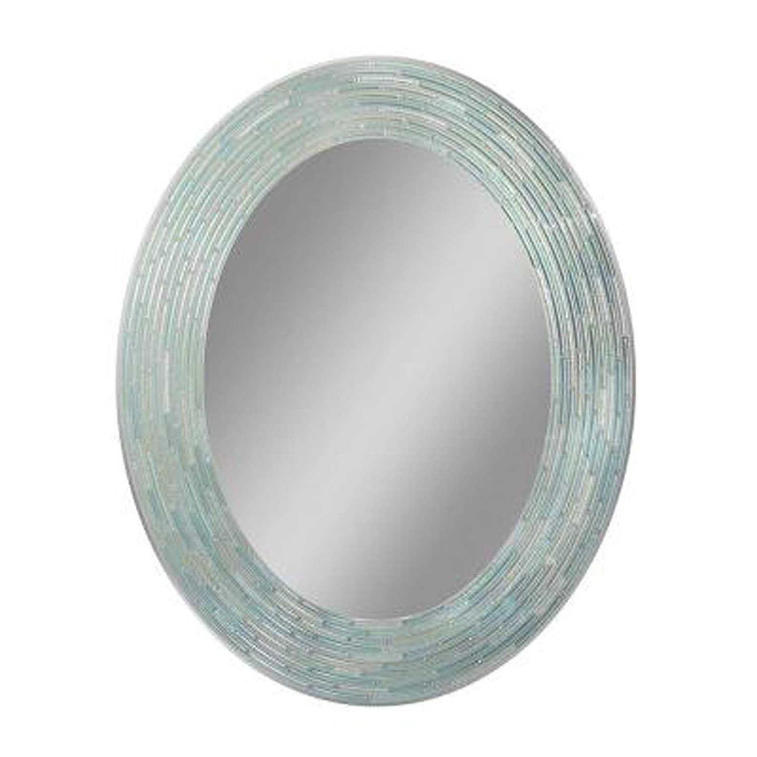 "Most Recent Headwest Reeded Sea Glass Oval Wall Mirror, 29 Inches23 Inches, 29"" X 23"" Within Aqua Wall Mirrors (View 11 of 20)"