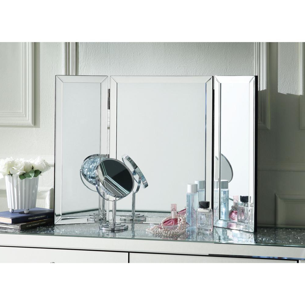 Most Recent Inspired Home Sylvia Tabletop/wall Mount Trifold Vanity Regarding Tri Fold Wall Mirrors (View 14 of 20)