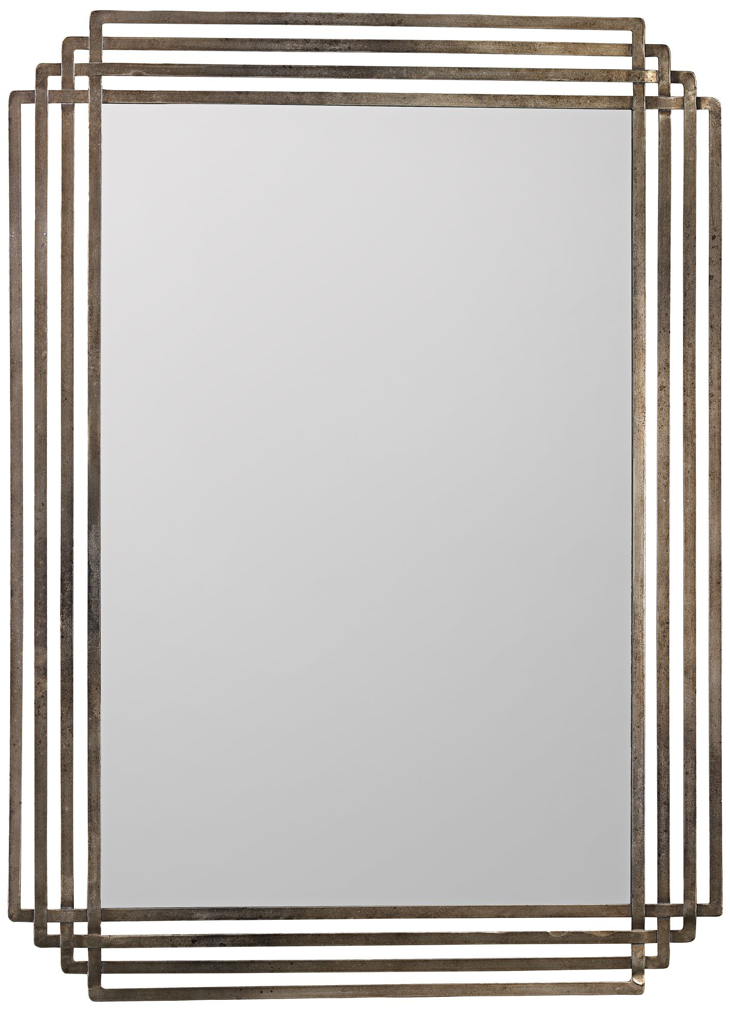 Most Recent Janie Rectangular Wall Mirrors Inside Wall Mirrors Large Jamie Young Serai Antique Silver 36 Lamps Plus (View 11 of 20)