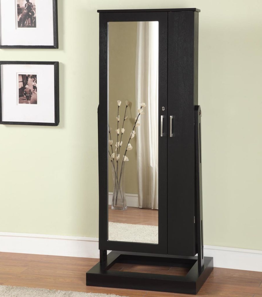 Most Recent Jewelry Storage: Black Wooden Glossy Armoire Storage Cabi Intended For Wall Mirrors With Jewelry Storage (View 19 of 20)