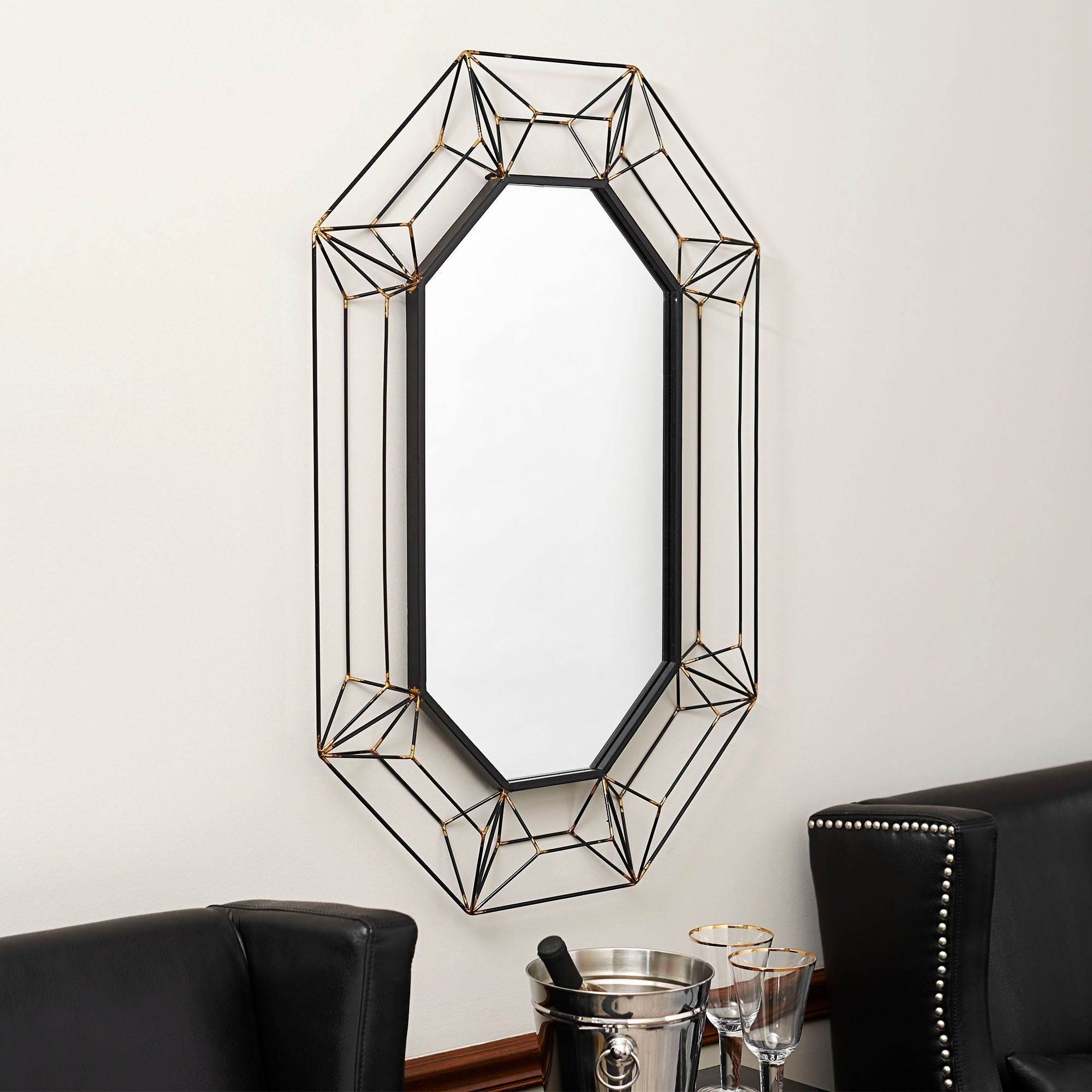 Most Recent Large Black Framed Wall Mirrors Inside Household Essentials Large Wire Frame Wall Mirror – Black/gold (View 12 of 20)