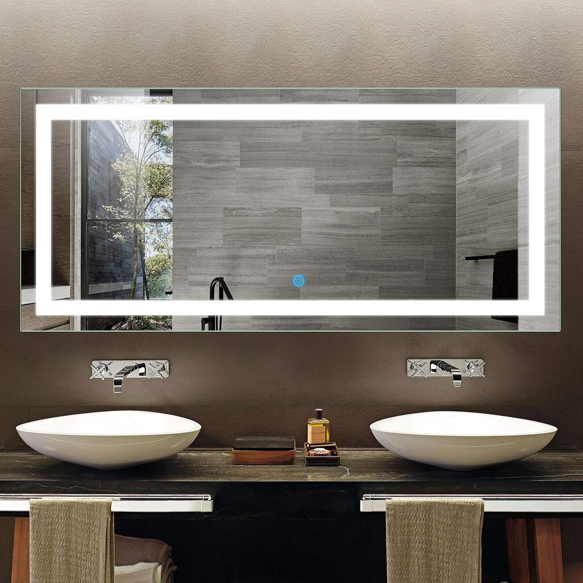Most Recent Large Modern Lighted Wall Mounted Bathroom Vanity Mirror, Led Frameless Backlit Illuminated Wall Mirror, Rectangle Horizontally White Mirrors For With Backlit Bathroom Wall Mirrors (View 9 of 20)