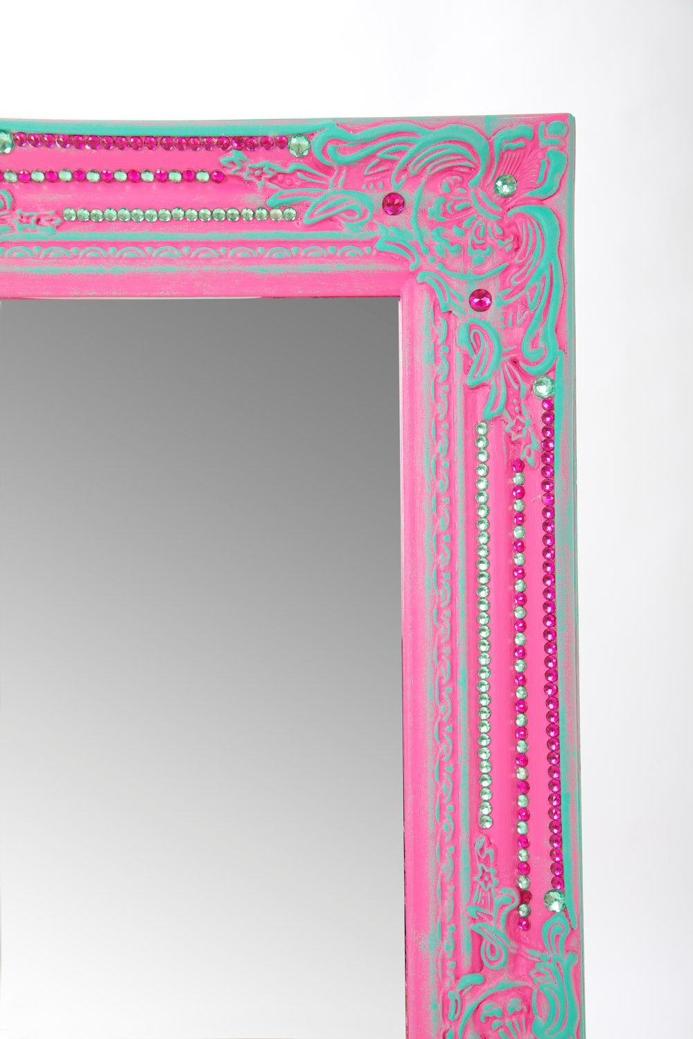 Most Recent Large Pink & Turquoise Decorated Renaissance Wall Mirror.. $ (View 9 of 20)