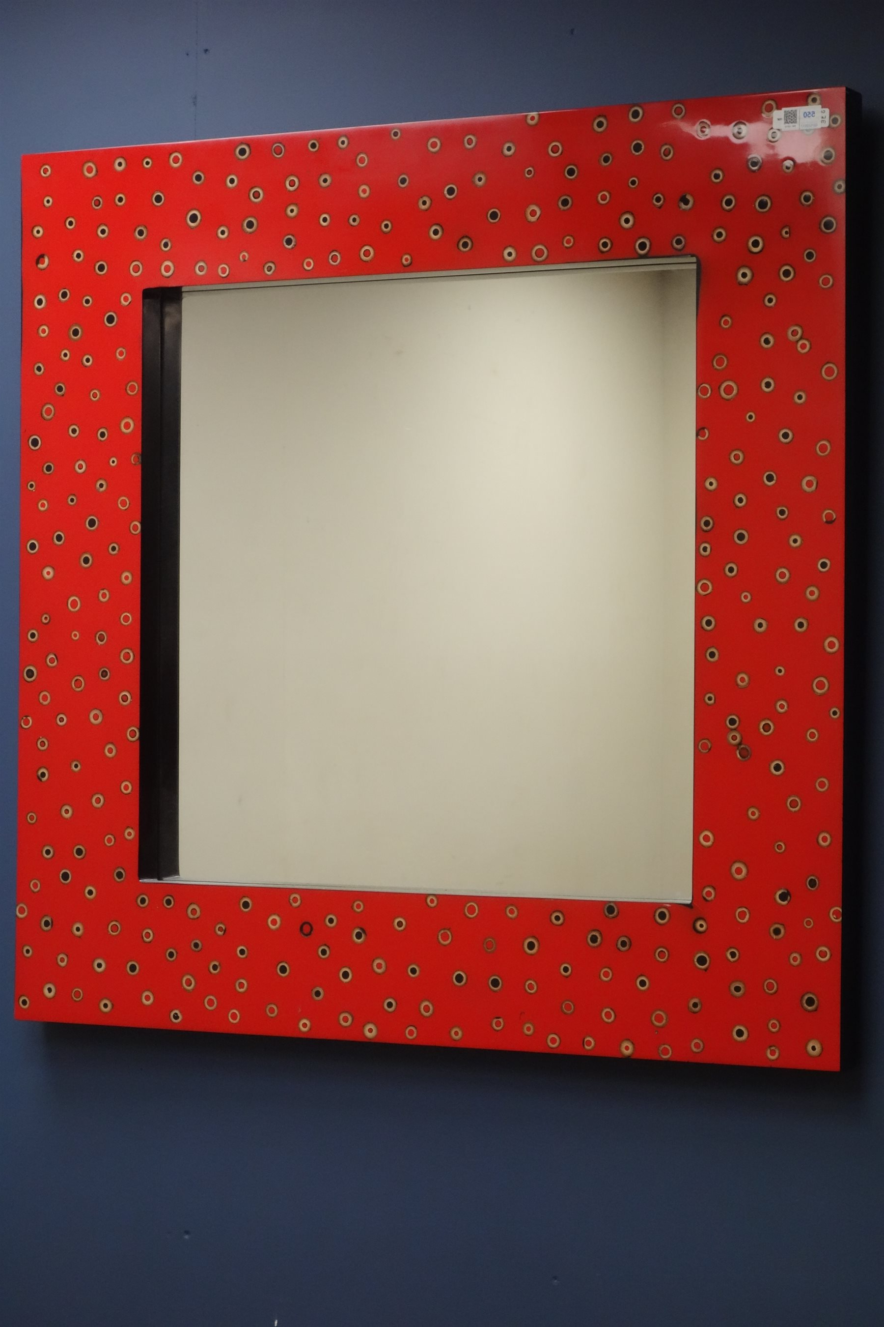 Most Recent Large Red Wall Mirrors For Large Square Red Lacquered Wall Mirror, 90cm X 90cm – Antiques (View 17 of 20)