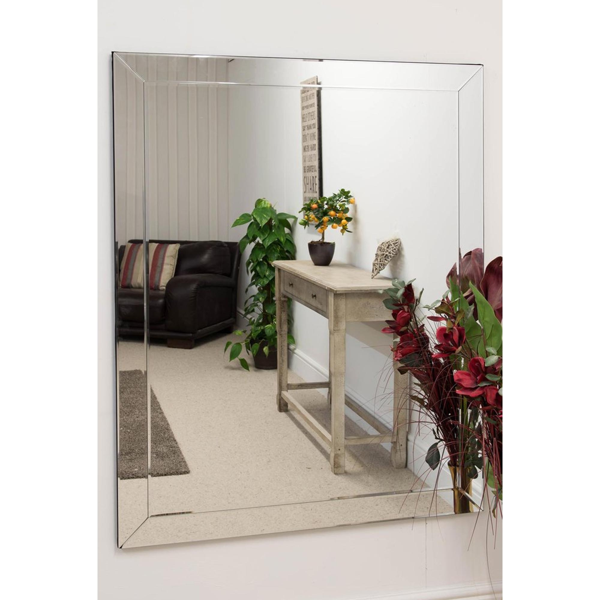 Most Recent Large Venetian Frameless Wall Mirror With Regard To Large Frameless Wall Mirrors (View 14 of 20)