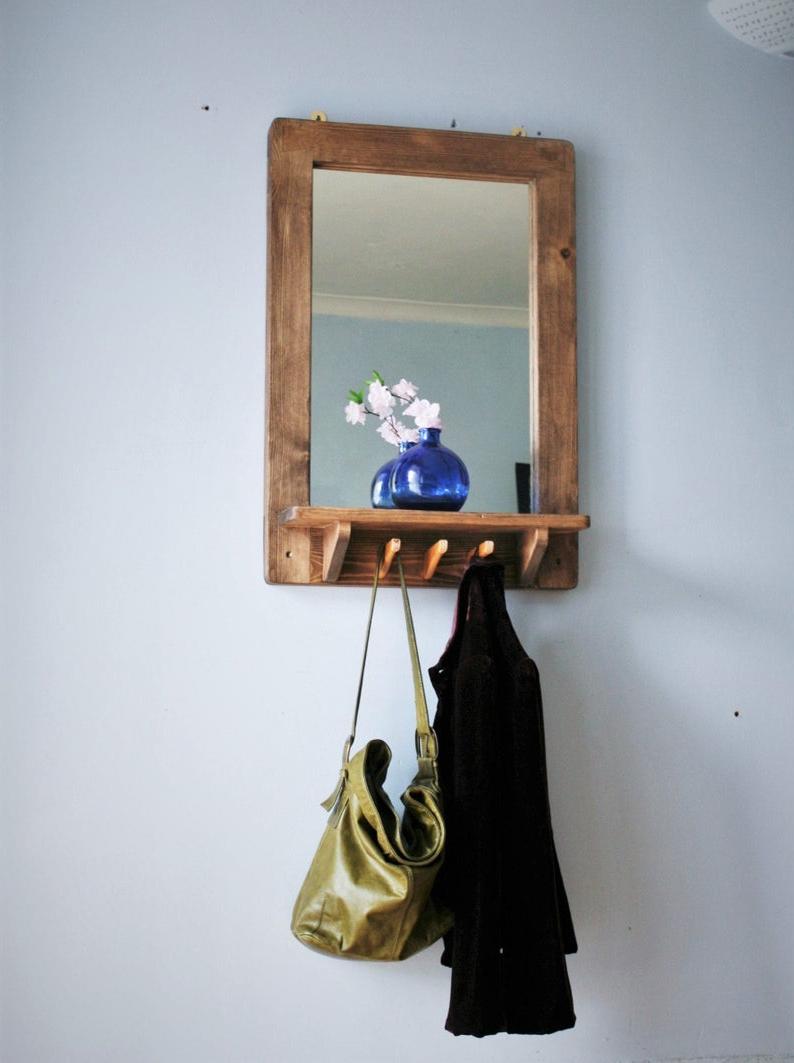 Most Recent Large Wall Mirror With Shelf & 3 Coat Hooks, Eco Wood Frame, Dark Wood Mirror, Hall Mirror, Custom Handmade Modern Rustic Style Somerset Uk Within Wall Mirrors With Hooks And Shelf (View 5 of 20)