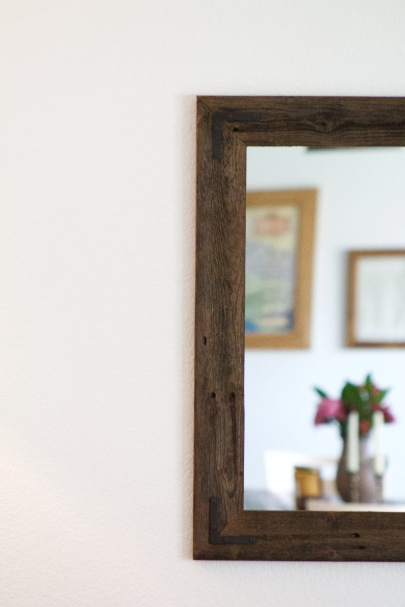 Most Recent Large Wood Mirror, Rustic Wall Mirror, Large Wall Mirror, Vanity Mirror, Large Bathroom Mirror, Rustic Mirror, Reclaimed Wood Mirror, Frame Pertaining To Large Wood Framed Wall Mirrors (View 19 of 20)