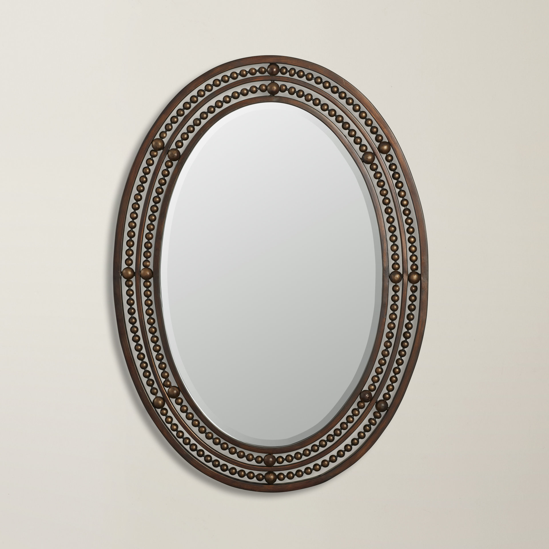 Most Recent Leeper Oval Wall Mirror Intended For Glen View Beaded Oval Traditional Accent Mirrors (View 13 of 20)