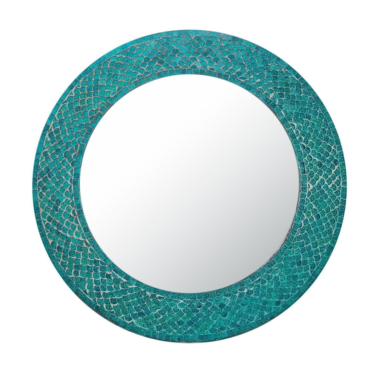 Most Recent Mermaid Wall Mirrors For Trend Shimmering Mermaid Glass Mosaic Tile Wall Mirror (View 9 of 20)