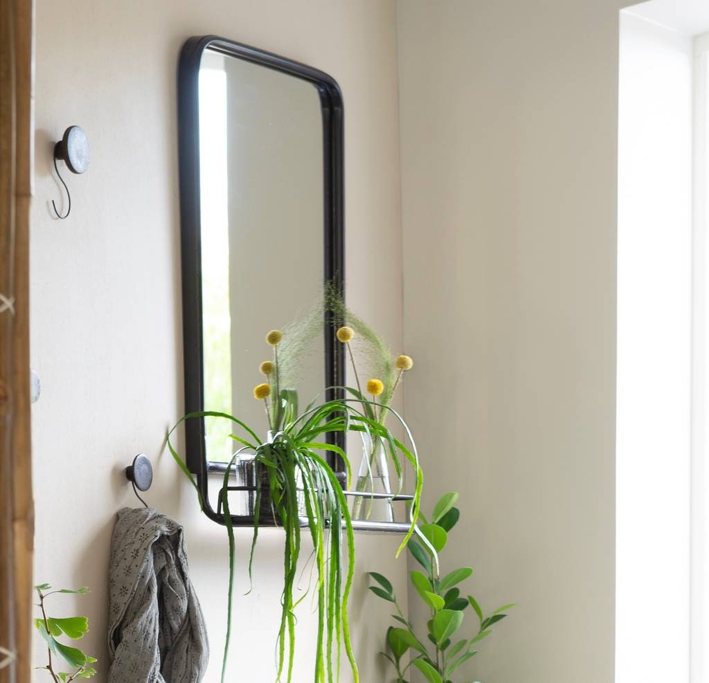 Most Recent Mini Wall Mirrors Regarding Large Industrial Wall Mirror With Mini Shelf (View 10 of 20)
