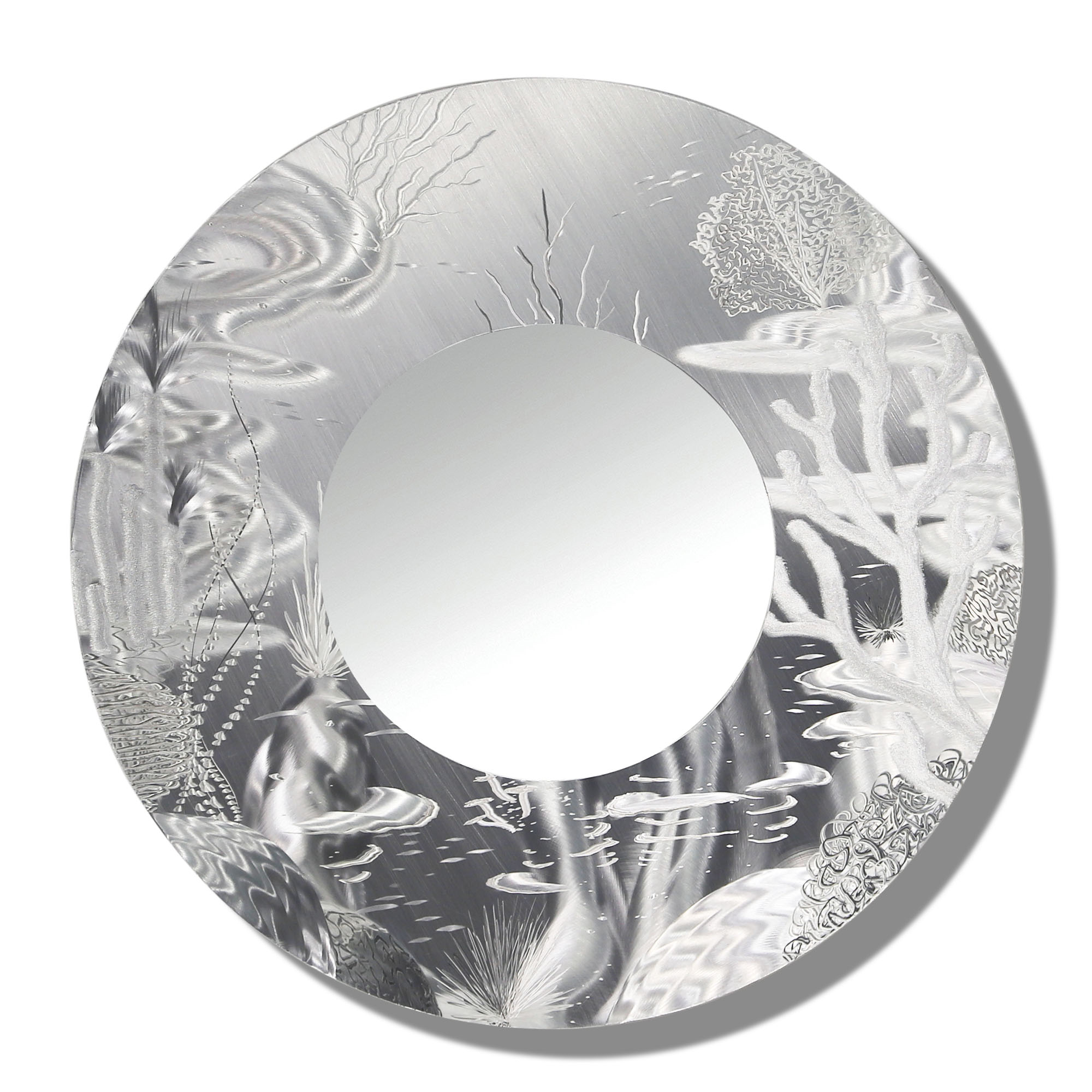 Most Recent Mirror 102 – All Natural Silver Abstract Marine Life Circle Wall Mirror –  Modern Metal Wall Accent Art Throughout Round Silver Wall Mirrors (View 7 of 20)