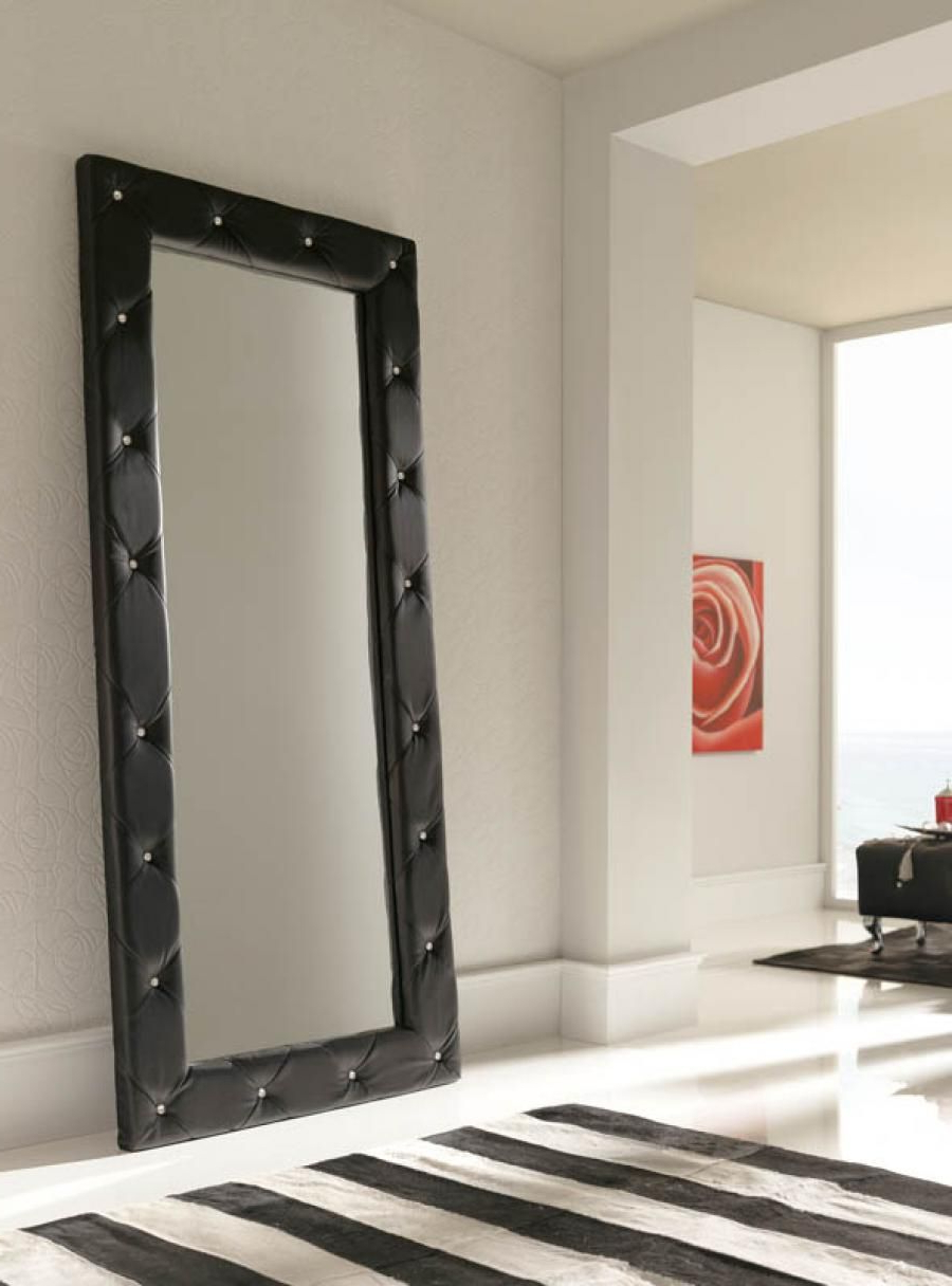 Most Recent Modern Black Wall Mirrors In Luxurious Quilted 2 Metre Tall Black Wall Mirror – Full (View 4 of 20)