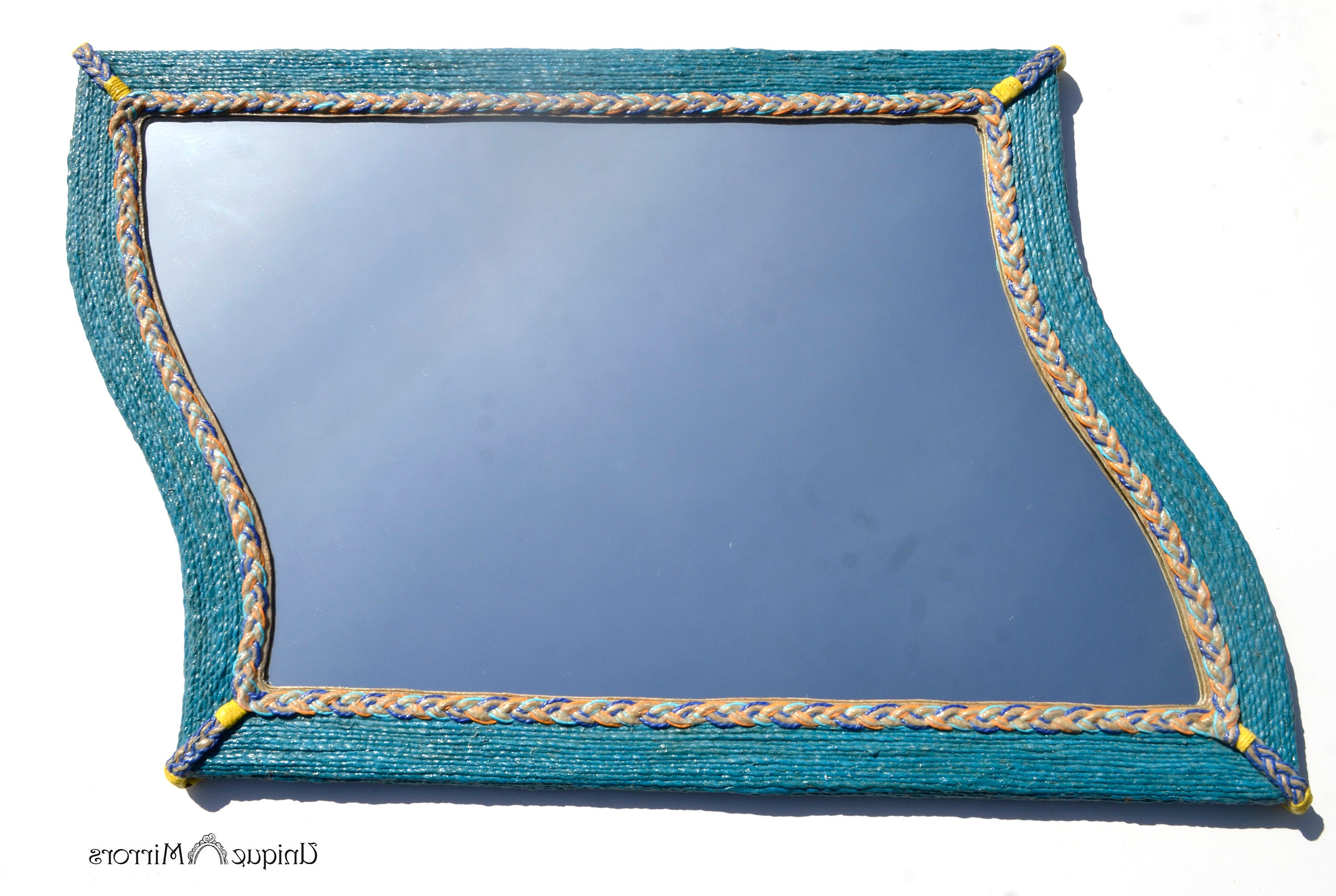 Most Recent New Home Mirror, Unusual Mirror, Wavy Mirror, Blue Abstract Mirror, Large  Wall Mirror, Hemp Rope Decor, Bathroom Mirrors, Decorative Mirrors Inside Unusual Large Wall Mirrors (View 10 of 20)