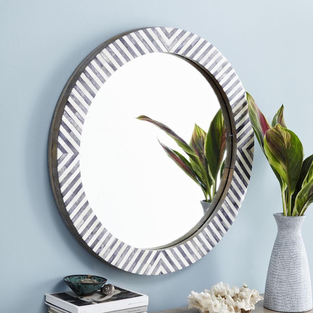 Most Recent Parsons Round Mirror – Herringbone (View 5 of 20)