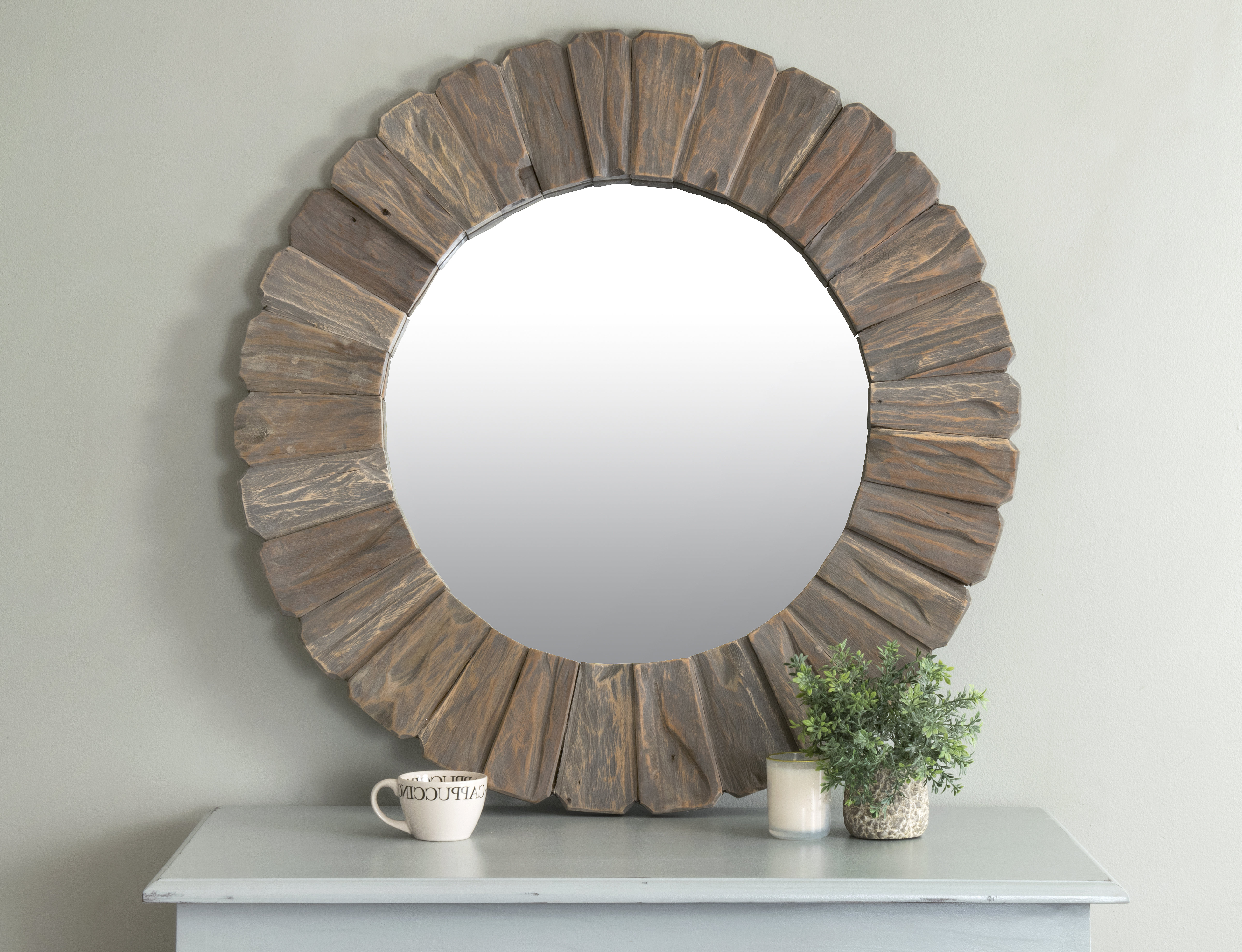 Most Recent Perillo Burst Wood Accent Mirrors Throughout Backus Round Wall Mirror (View 19 of 20)