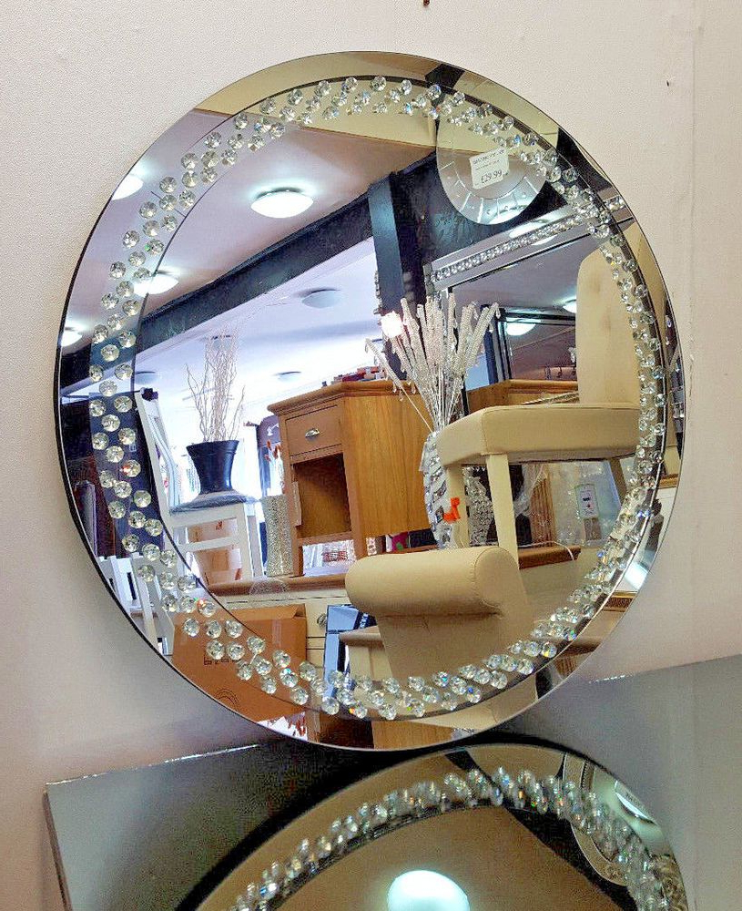 Most Recent Point Reyes Molten Round Wall Mirrors In Details About Floating Crystal Round Wall Mirror Elegent Glass (View 6 of 20)