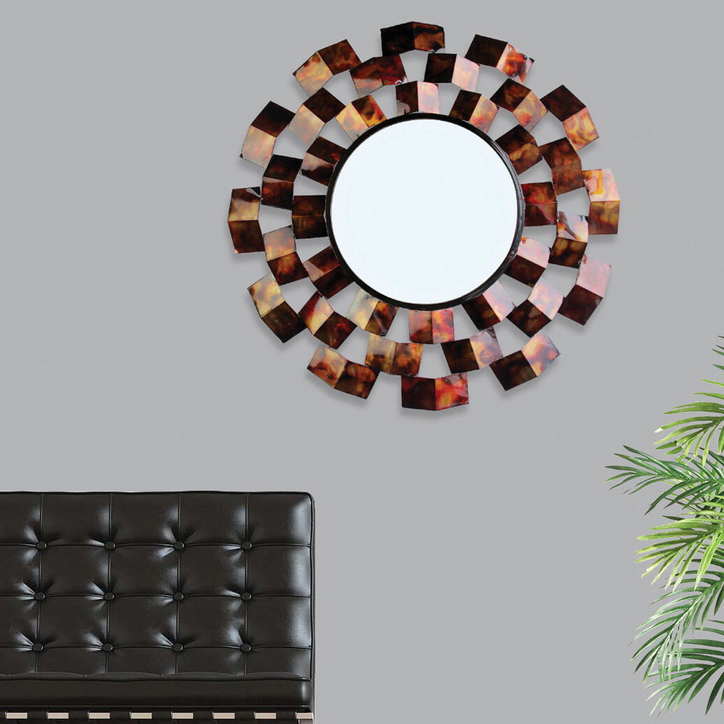 Most Recent Red Barrel Studio Ahmad Art Deco Inspired Accent Mirror With Regard To Carstens Sunburst Leaves Wall Mirrors (View 5 of 20)