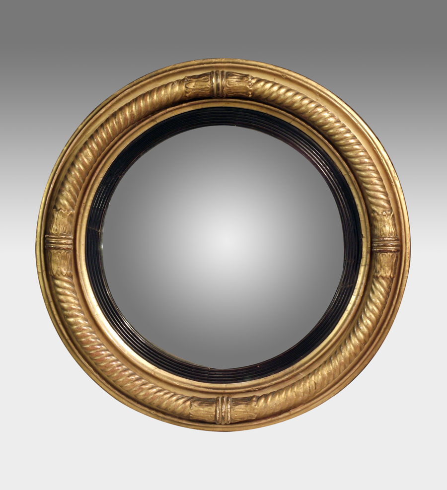 Most Recent Round Convex Wall Mirrors For Antique Convex Mirror, Gilt Convex Wall Mirror, Regency (View 11 of 20)