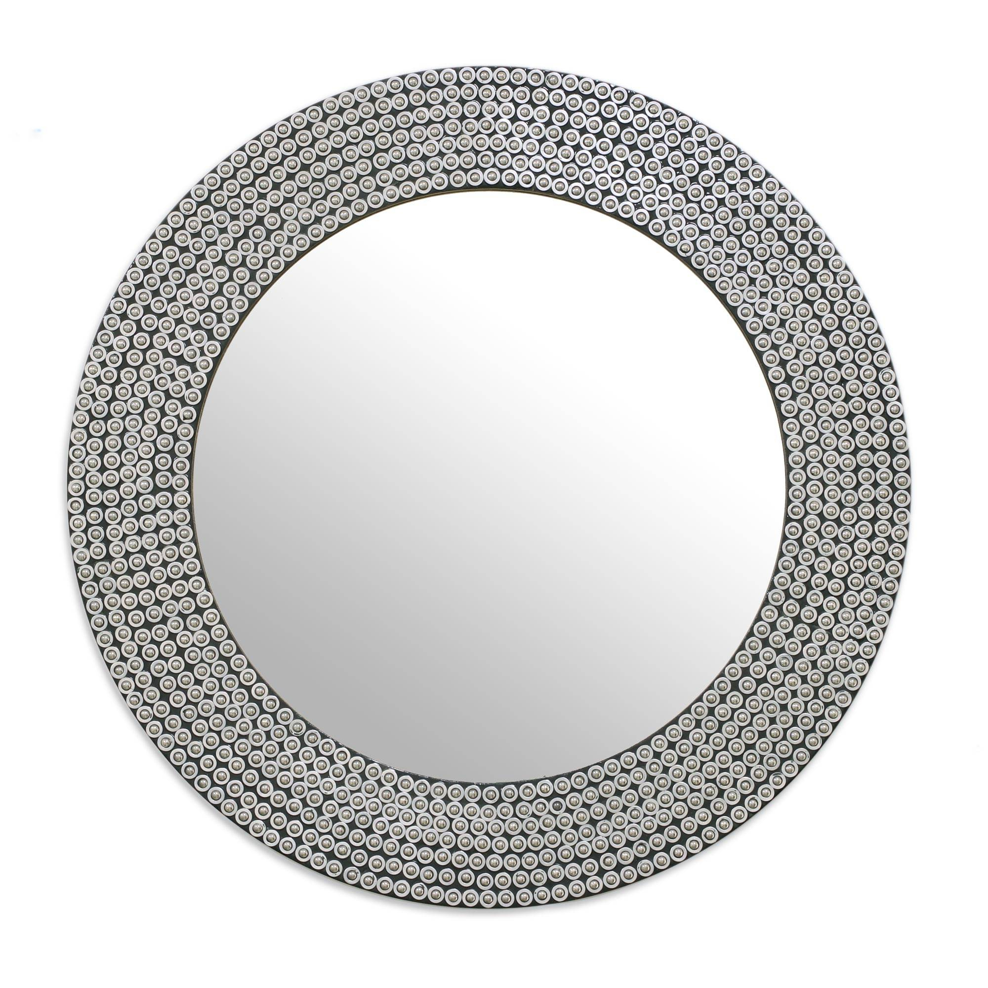 Most Recent Round Galvanized Metallic Wall Mirrors With Circular Shimmering Metal Wall Mirror From India, 'silvery Shine' (View 19 of 20)