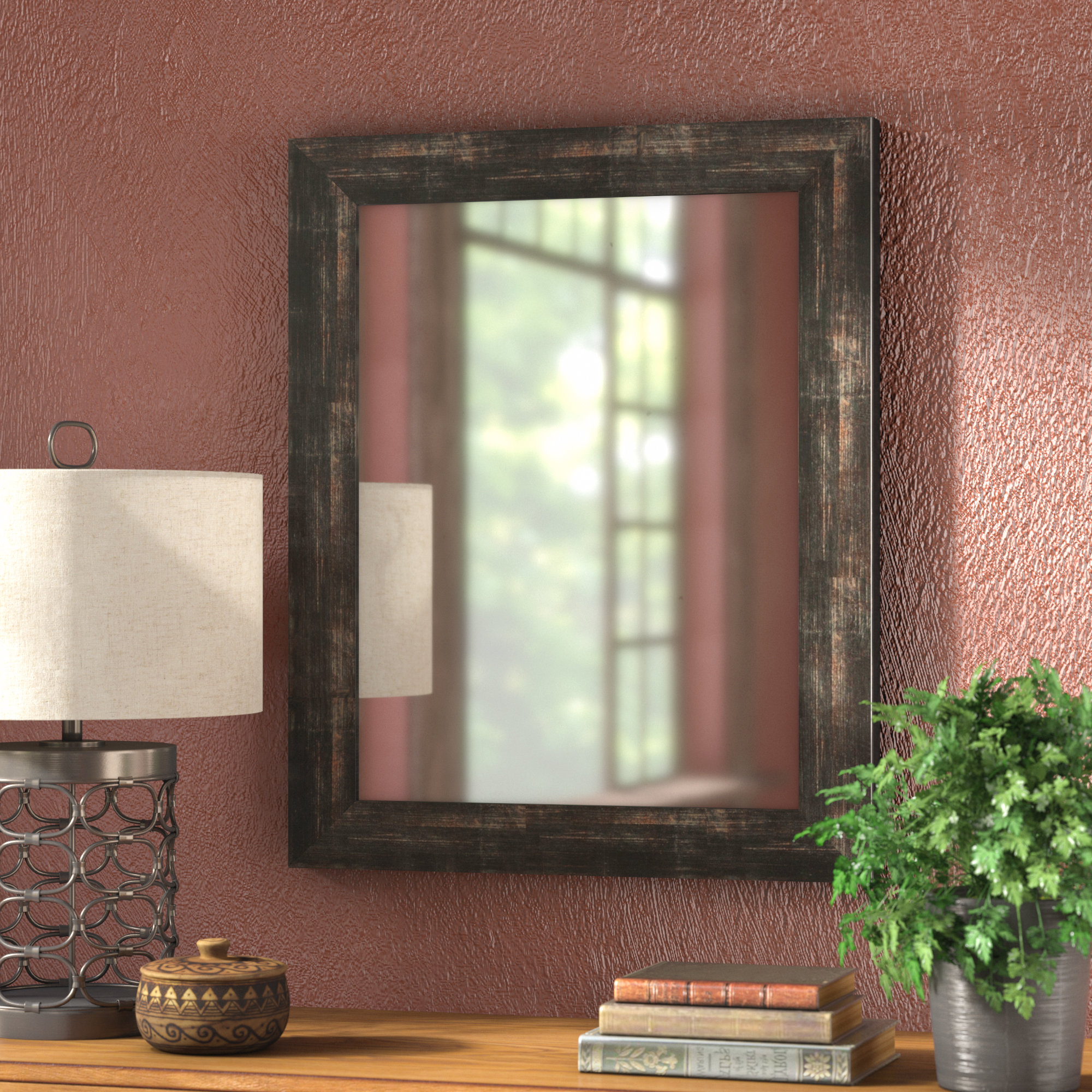 Most Recent Rustic Wall Mirrors Throughout Brushed Classic Rustic Wall Mirror (View 5 of 20)