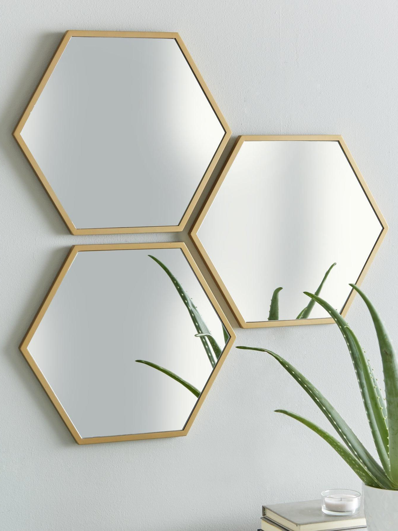 Most Recent Set Of 3 Gold Hexagon Wall Mirrors In (View 2 of 20)