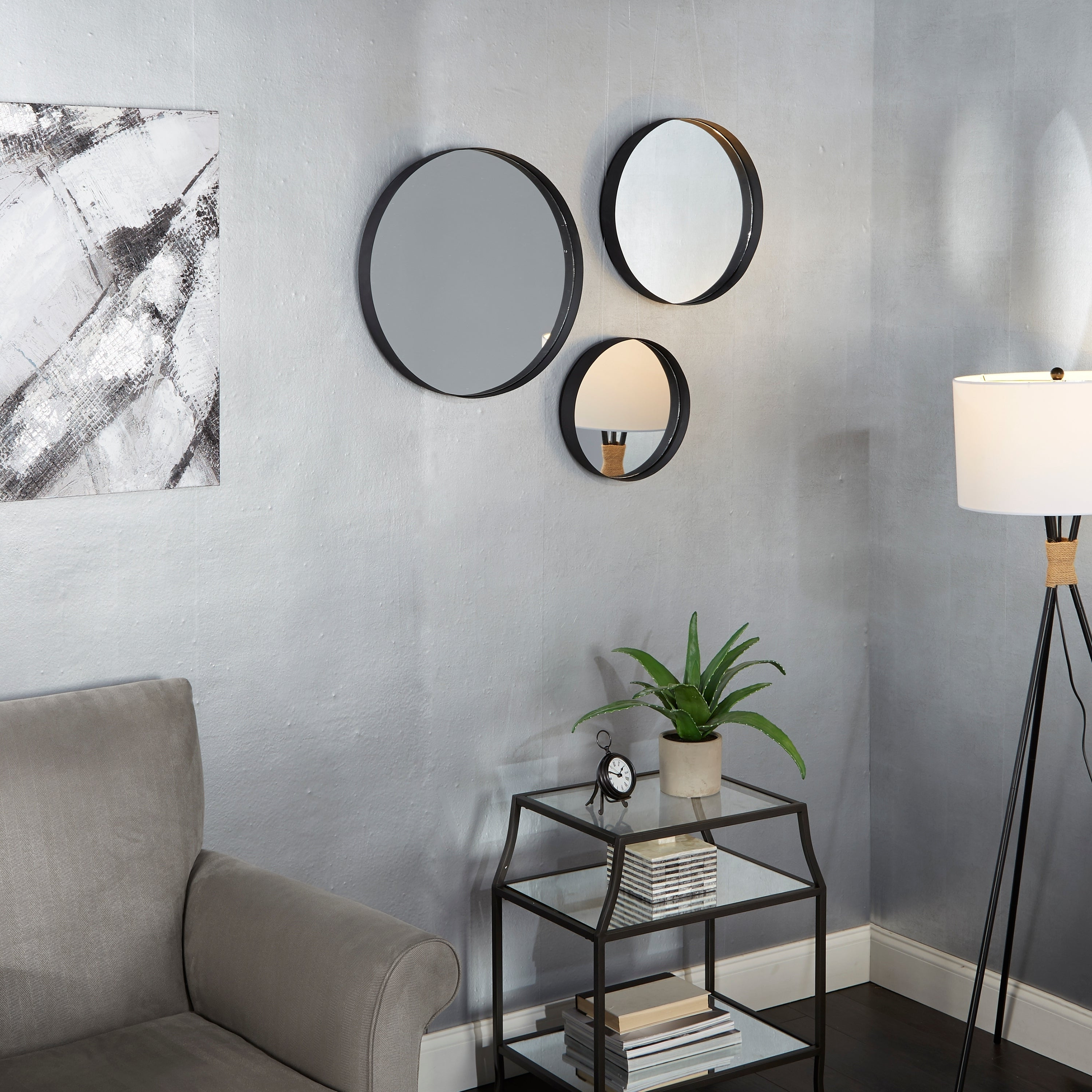 Most Recent Set Of 3 Paxton Round Wall Mirrors – Gunmetal Within Set Of 3 Wall Mirrors (Gallery 11 of 20)