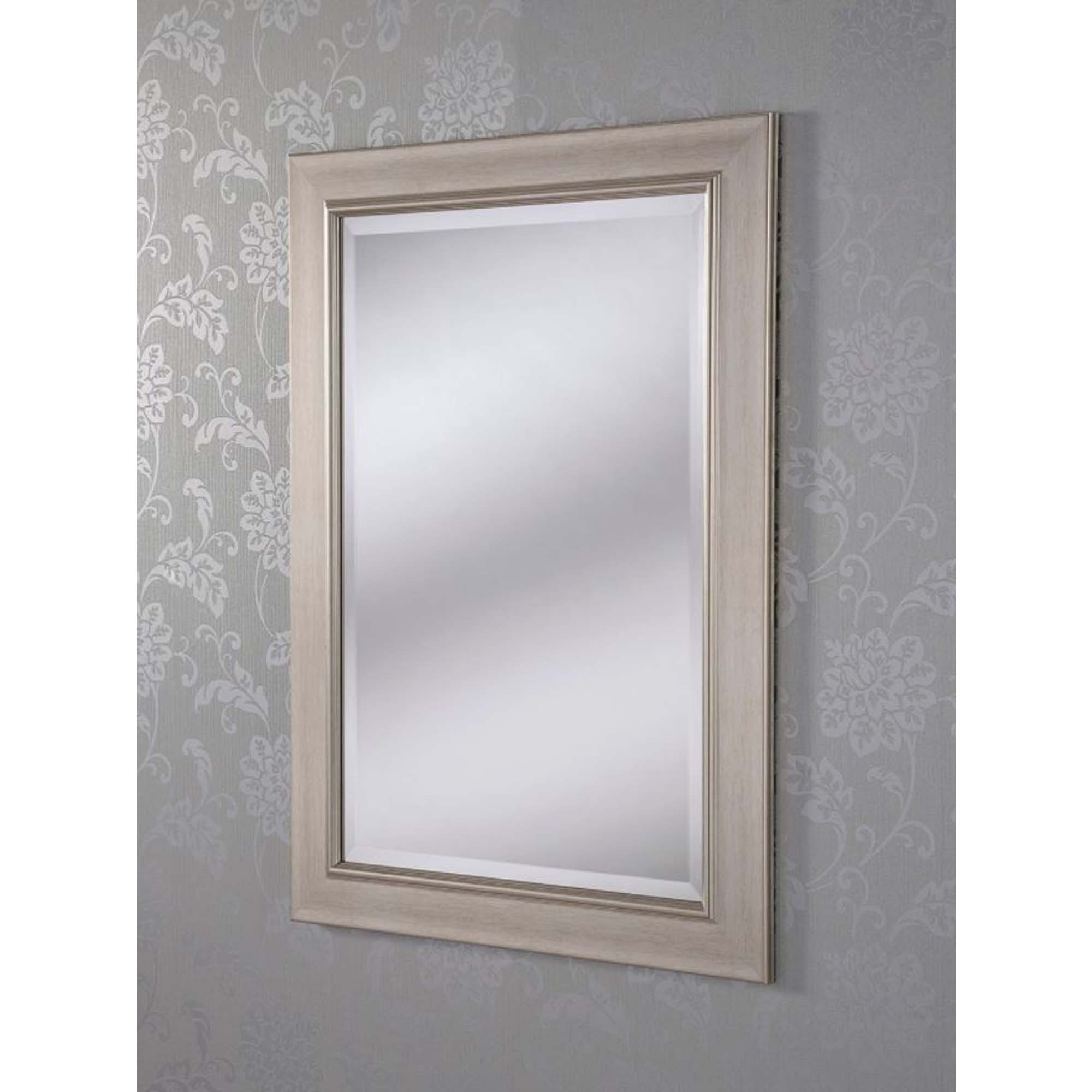 Most Recent Silver Framed Wall Mirrors With Regard To Decorative Silver Framed Rectangular Wall Mirror (View 8 of 20)
