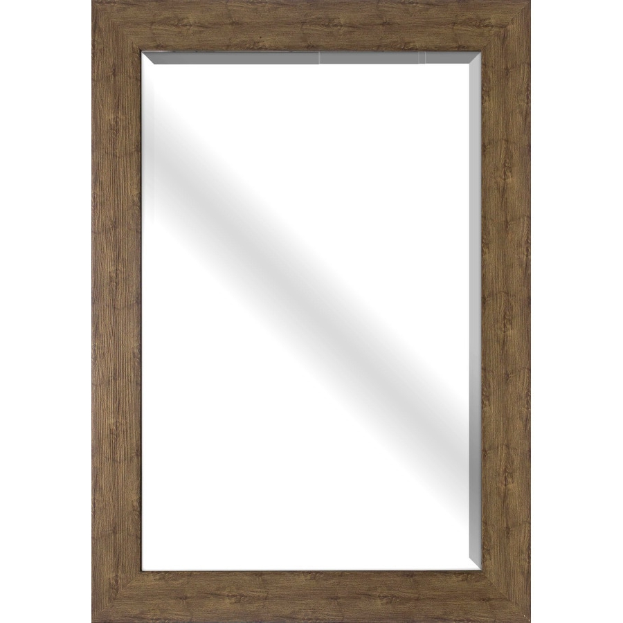 Most Recent Style Selections 32 In L X 26 In W Walnut Woodgrain Beveled Wall With Rectangle Plastic Beveled Wall Mirrors (View 10 of 20)