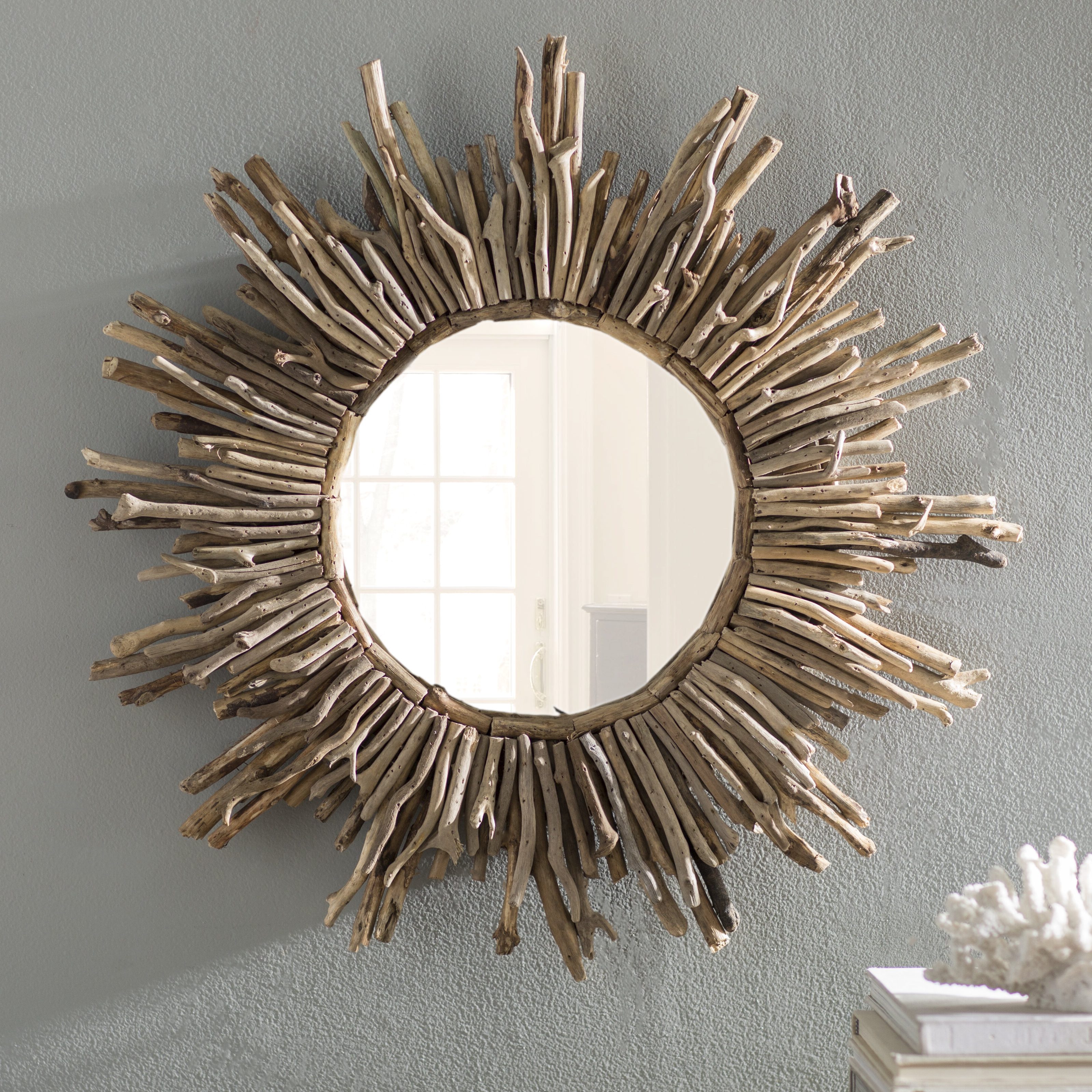Most Recent Sunburst Traditional Accent Mirror Inside Perillo Burst Wood Accent Mirrors (Gallery 15 of 20)