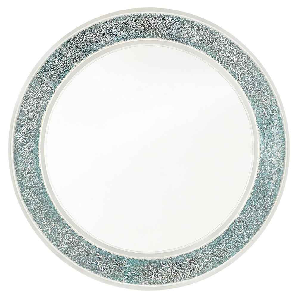 Most Recent Ursula Coastal Beach Iridescent Round Green Glass Mosaic Wall Mirror In Glass Mosaic Wall Mirrors (View 12 of 20)
