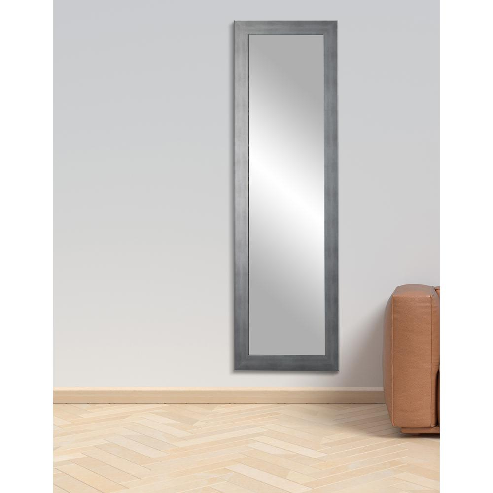 Most Recent Wall Mirrors Full Length Regarding Cool Muted Silver Slim Full Length Mirror (View 7 of 20)
