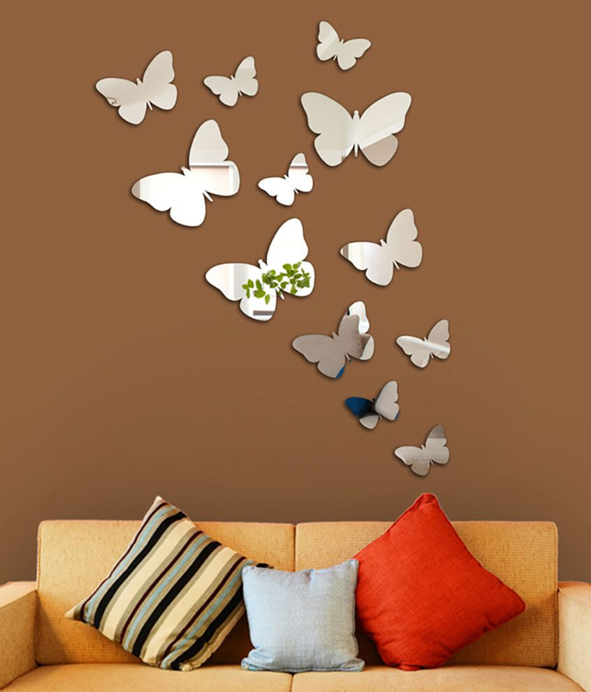Most Recent Wall1ders 3d Acrylic Mirror Butterflies Wall Sticker For Butterfly Wall Mirrors (View 3 of 20)