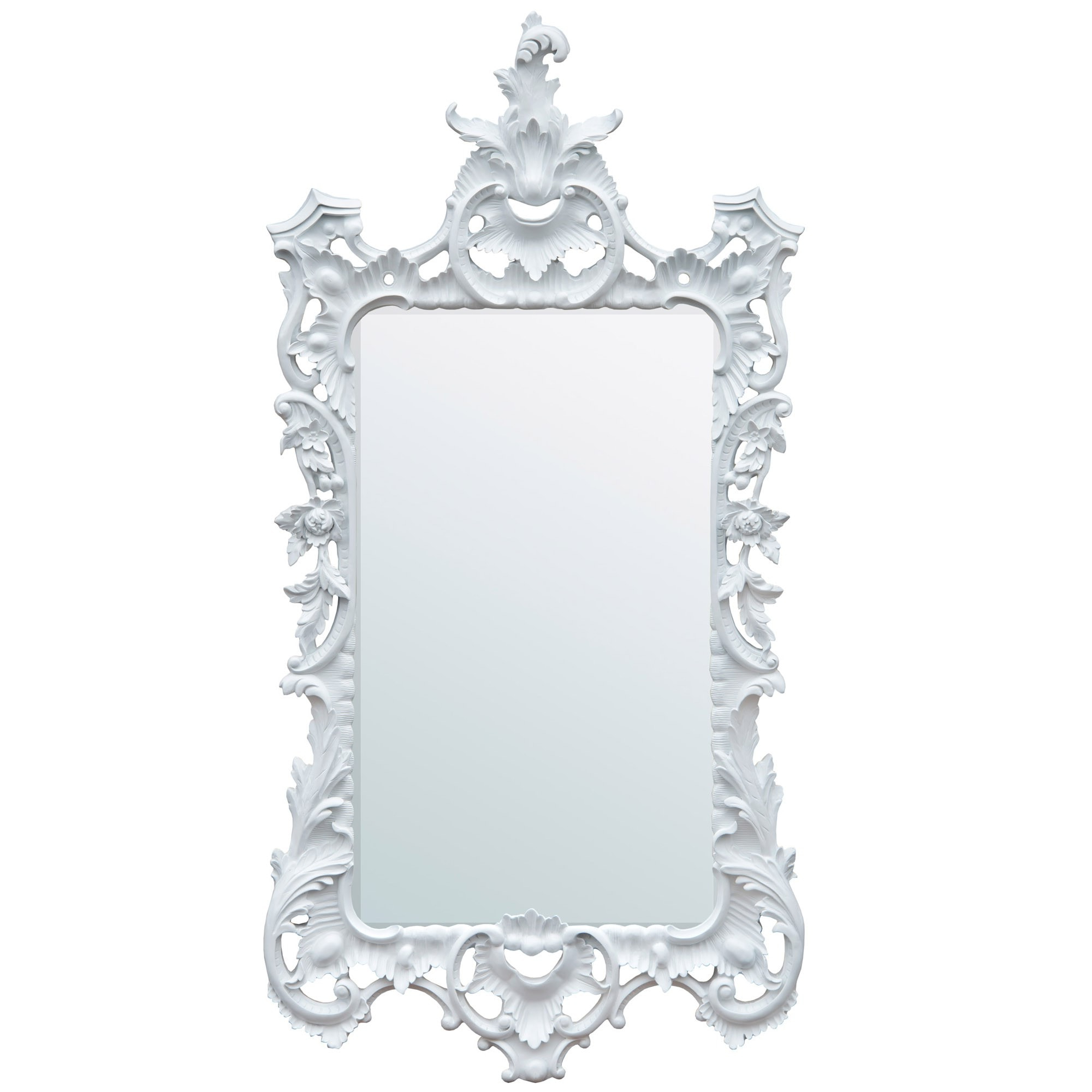Most Recent White Chalk Paint Chippendale Style Bevelled Decorative Wall Mirror Within White Decorative Wall Mirrors (View 10 of 20)