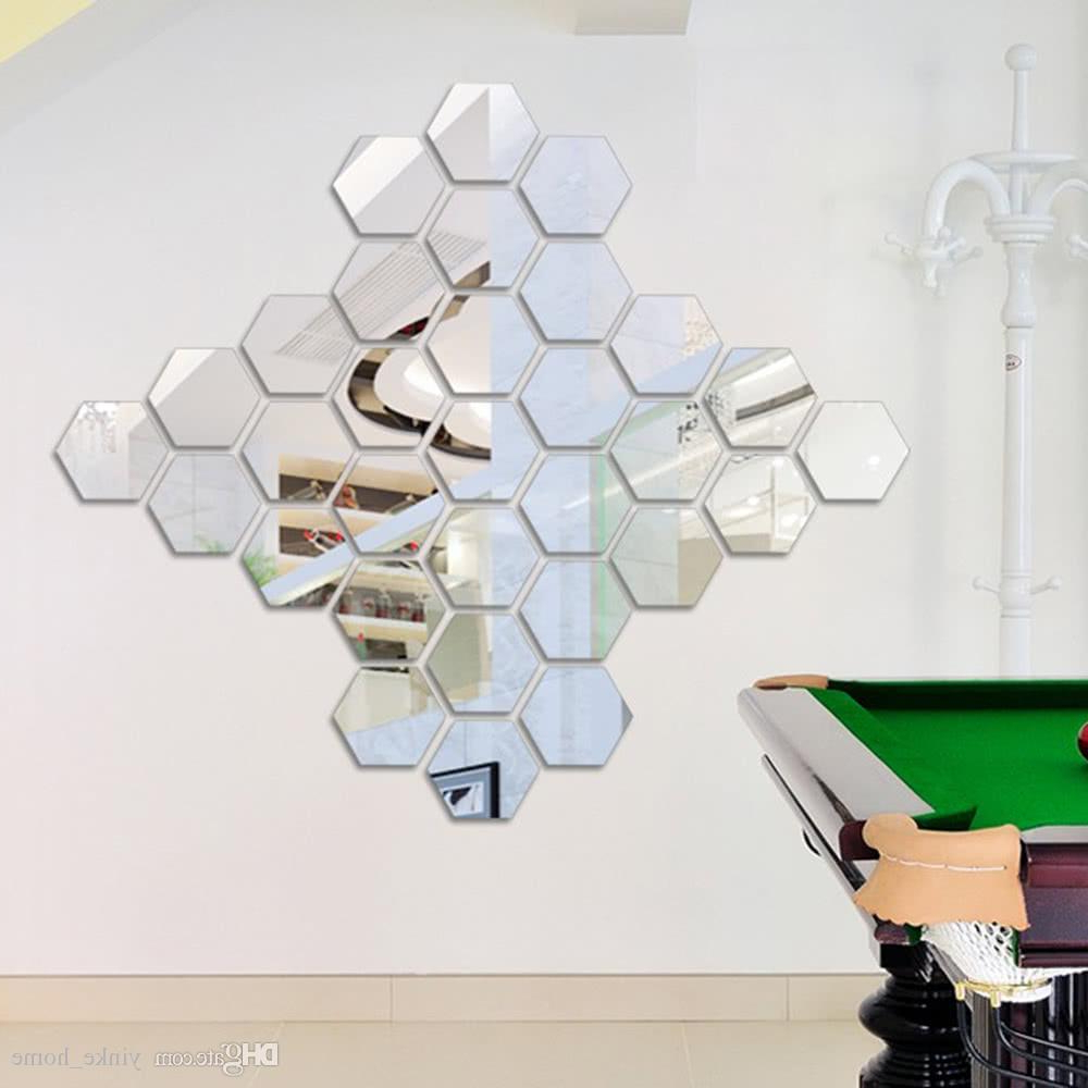 Most Recently Released 12pcs 3d Mirror Wall Sticker Hexagon Vinyl Removable Acrylic Wall Stickers Art Diy Decal Home Living Room Bedroom Bathroom Decor For Hexagon Wall Mirrors (View 15 of 20)