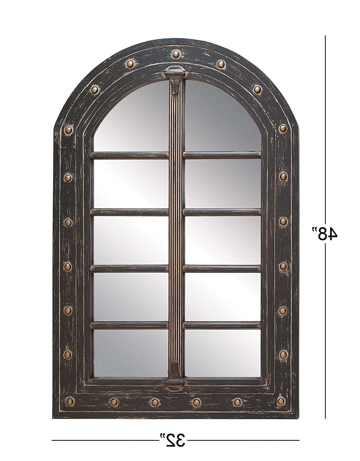 Most Recently Released Amazon: Deco 79 Rustic Wooden Arched Window Framed Wall Regarding Long Black Wall Mirrors (View 12 of 20)