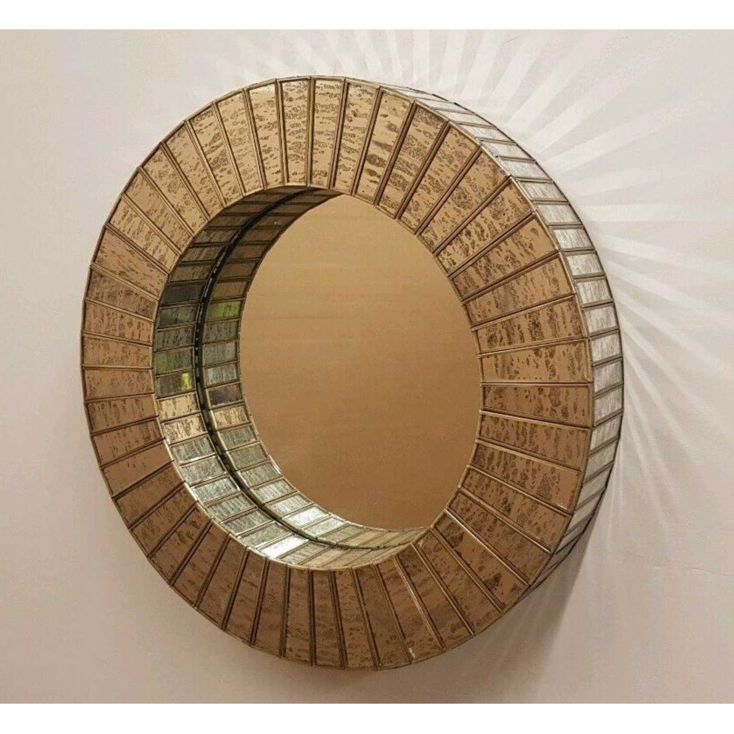 Most Recently Released Aurora Antique Silver And Gold Mercury Glass 60Cm Round Wall Mirror Regarding Mercury Glass Wall Mirrors (View 14 of 20)