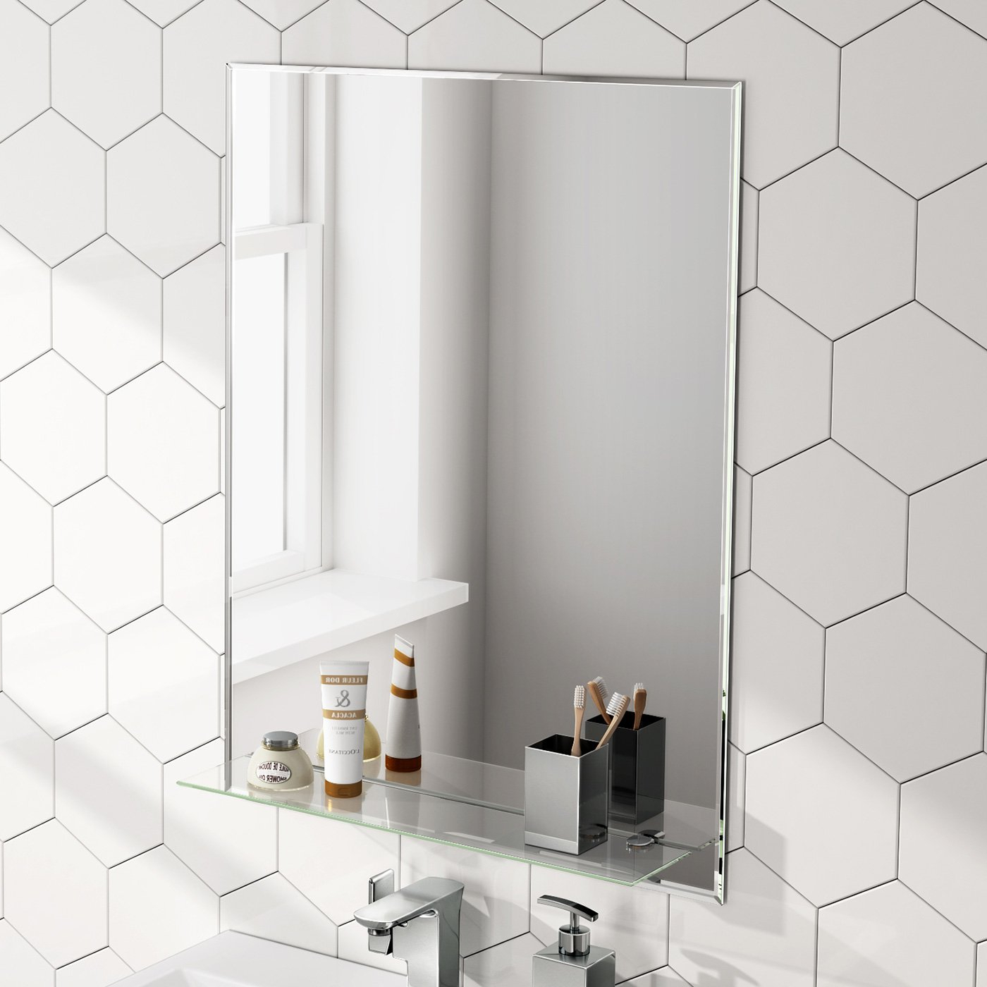 Most Recently Released Bath Wall Mirrors Throughout 600 X 800 Mm Designer Bathroom Wall Mirror + Glass Shelf Mc (View 7 of 20)