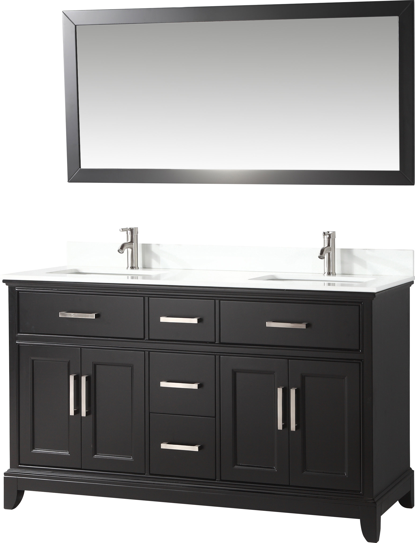 "Most Recently Released Blevens 60"" Double Bathroom Vanity Set With Mirror With Landover Rustic Distressed Bathroom/vanity Mirrors (View 15 of 20)"