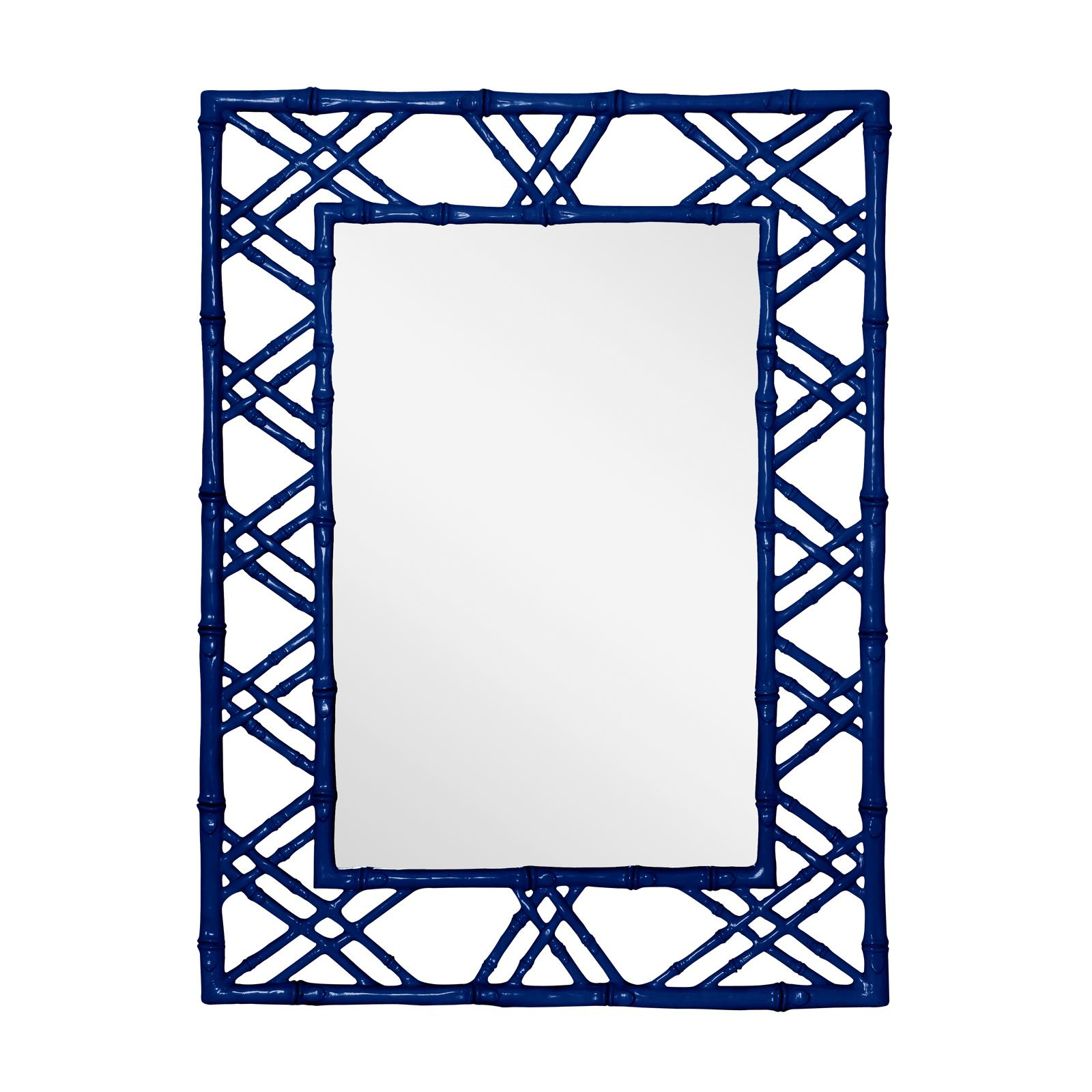 Most Recently Released Blue Framed Wall Mirrors For Faux Bamboo Lattice Framed Mirror – Mecox Gardens (View 17 of 20)