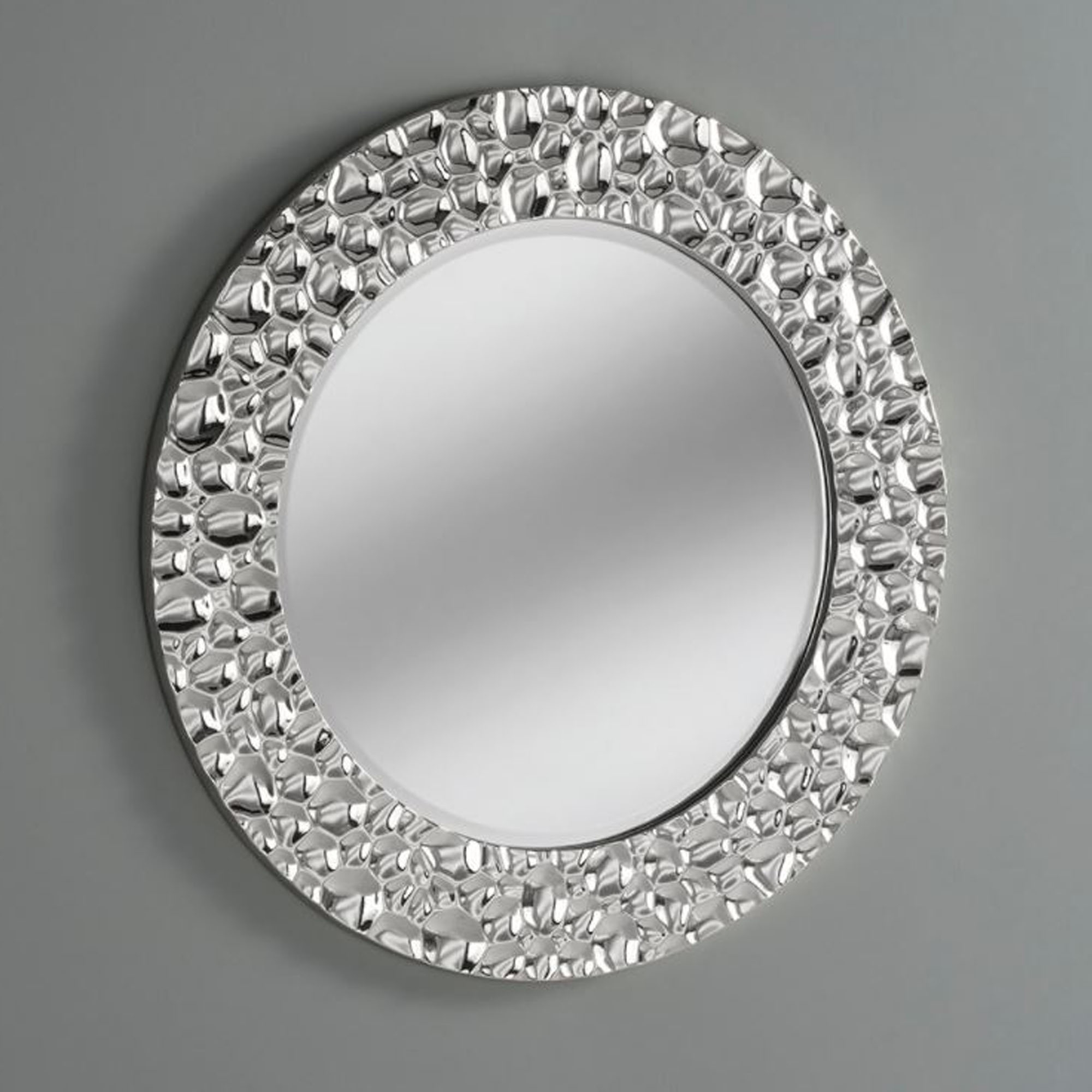 Most Recently Released Chrome Wall Mirrors Inside Bubble Effect Chrome Silver Circle Wall Mirror (View 5 of 20)