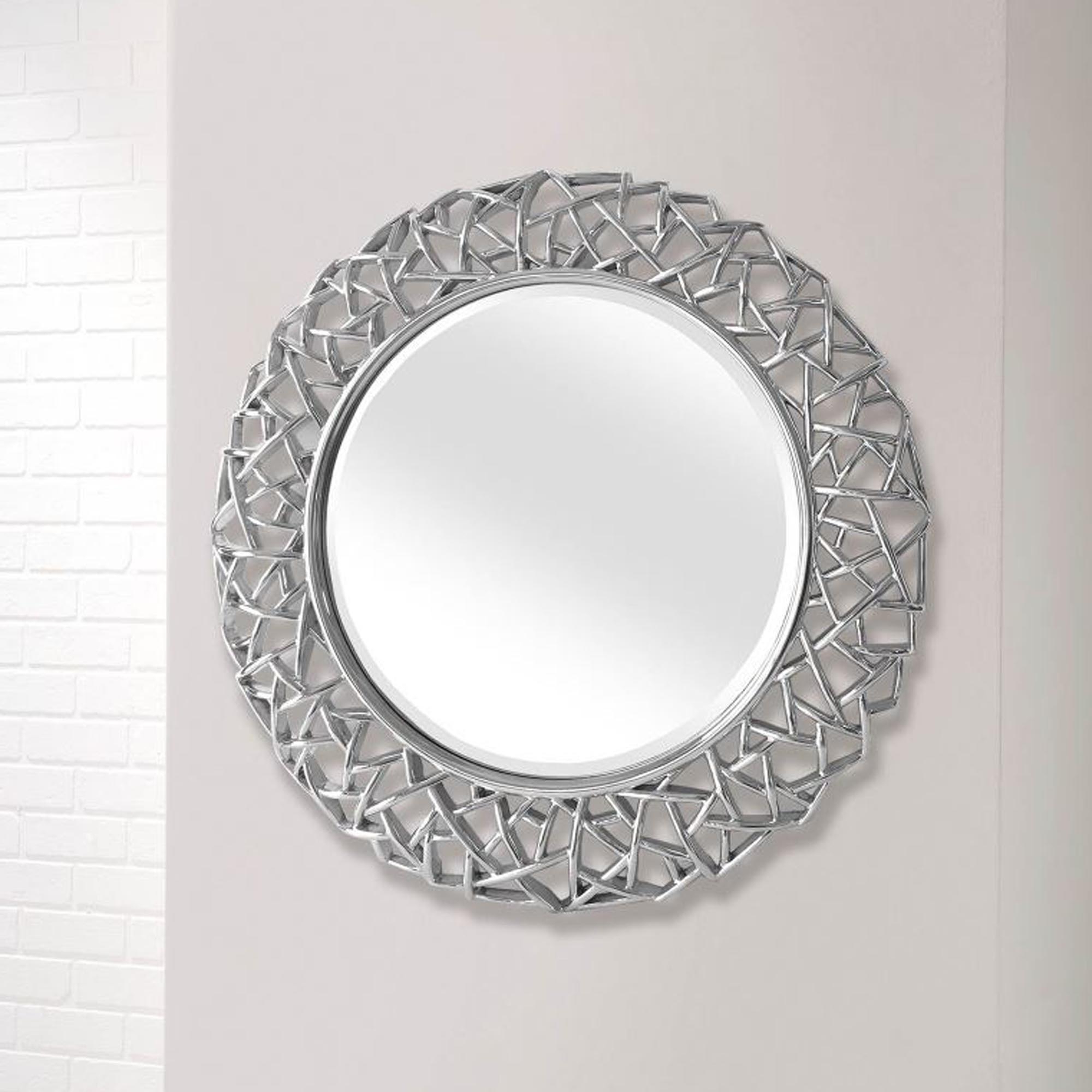 Most Recently Released Circle Wall Mirrors With Regard To Intricate Round Modern Wall Mirror (View 2 of 20)