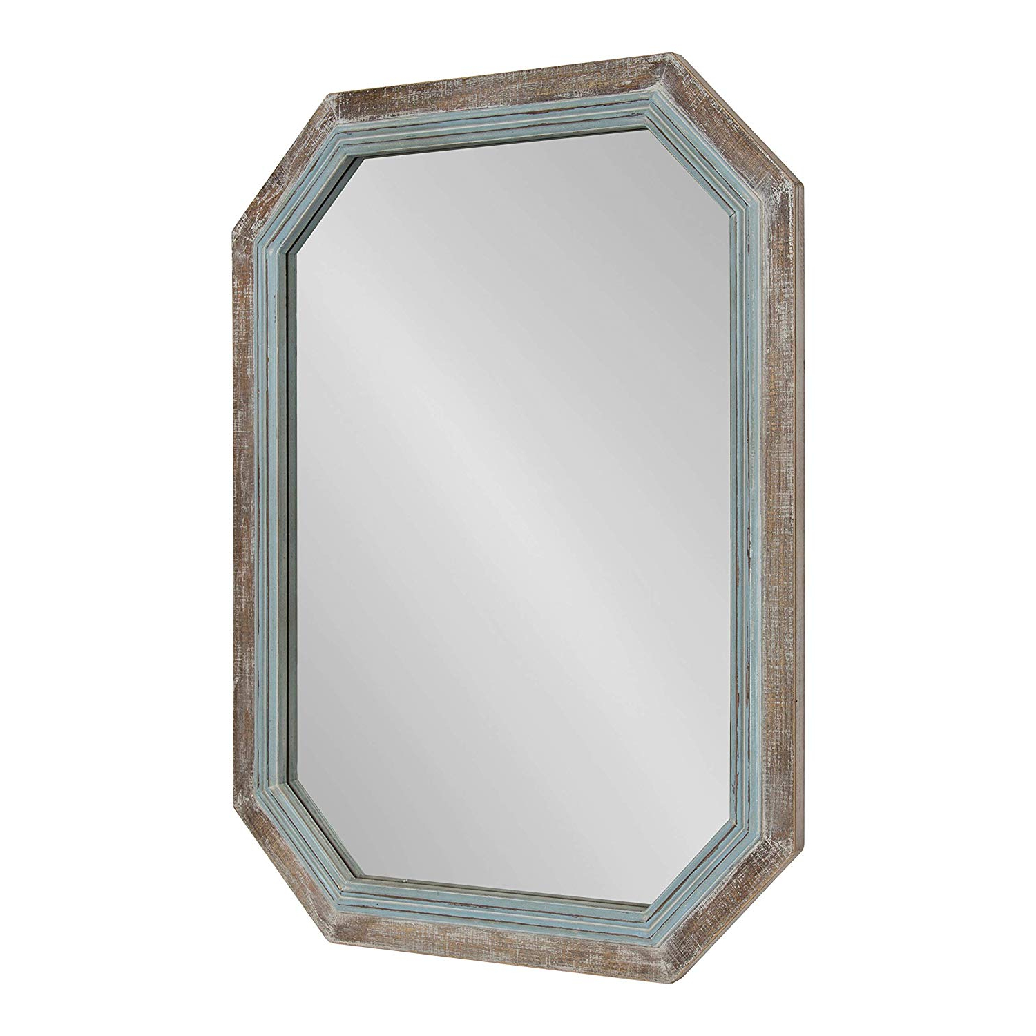 Most Recently Released Coastal Wall Mirrors Regarding Kate And Laurel Palmer Large Rustic Farmhouse Wooden Octagon Wall Mirror, Distressed Two Tone Coastal Blue And Natural, 36x (View 12 of 20)