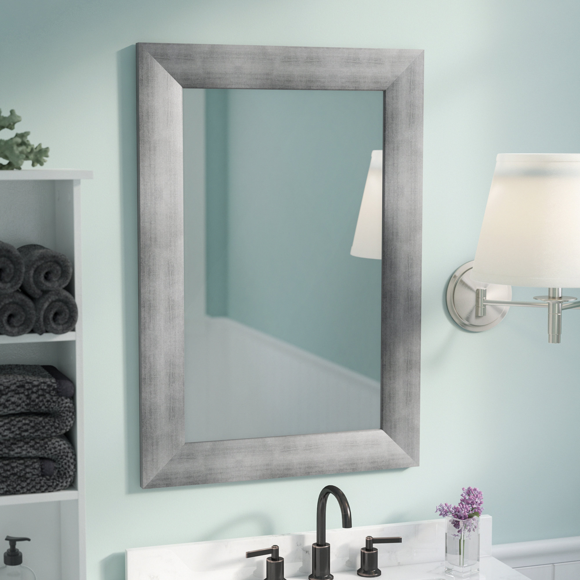 Most Recently Released Cool Wall Mirrors Pertaining To Rectangle Muted Cool Wall Mirror (View 7 of 20)