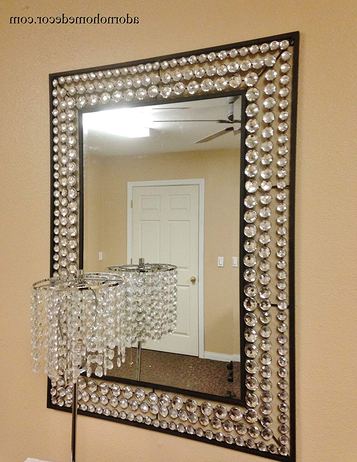 Most Recently Released Crystal Wall Mirrors In Amazon: Large Metal Wall Crystal Jewel Mirror Rustic Modern Chic (View 16 of 20)