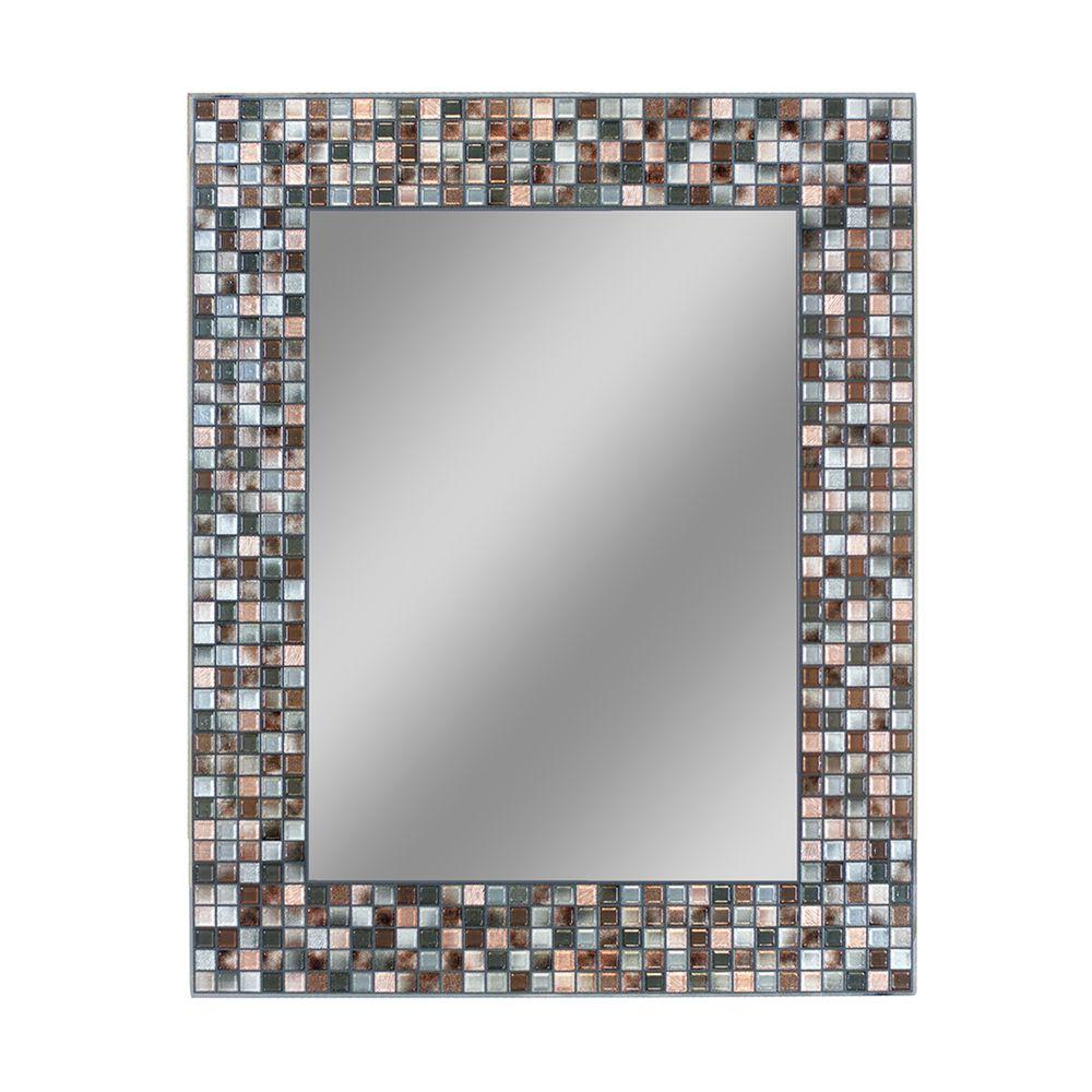 Most Recently Released Deco Mirror 30 In. L X 24 In. W Earthtone Copper Bronze Mosaic Tile Wall  Mirror In Mosaic Wall Mirrors (Gallery 1 of 20)